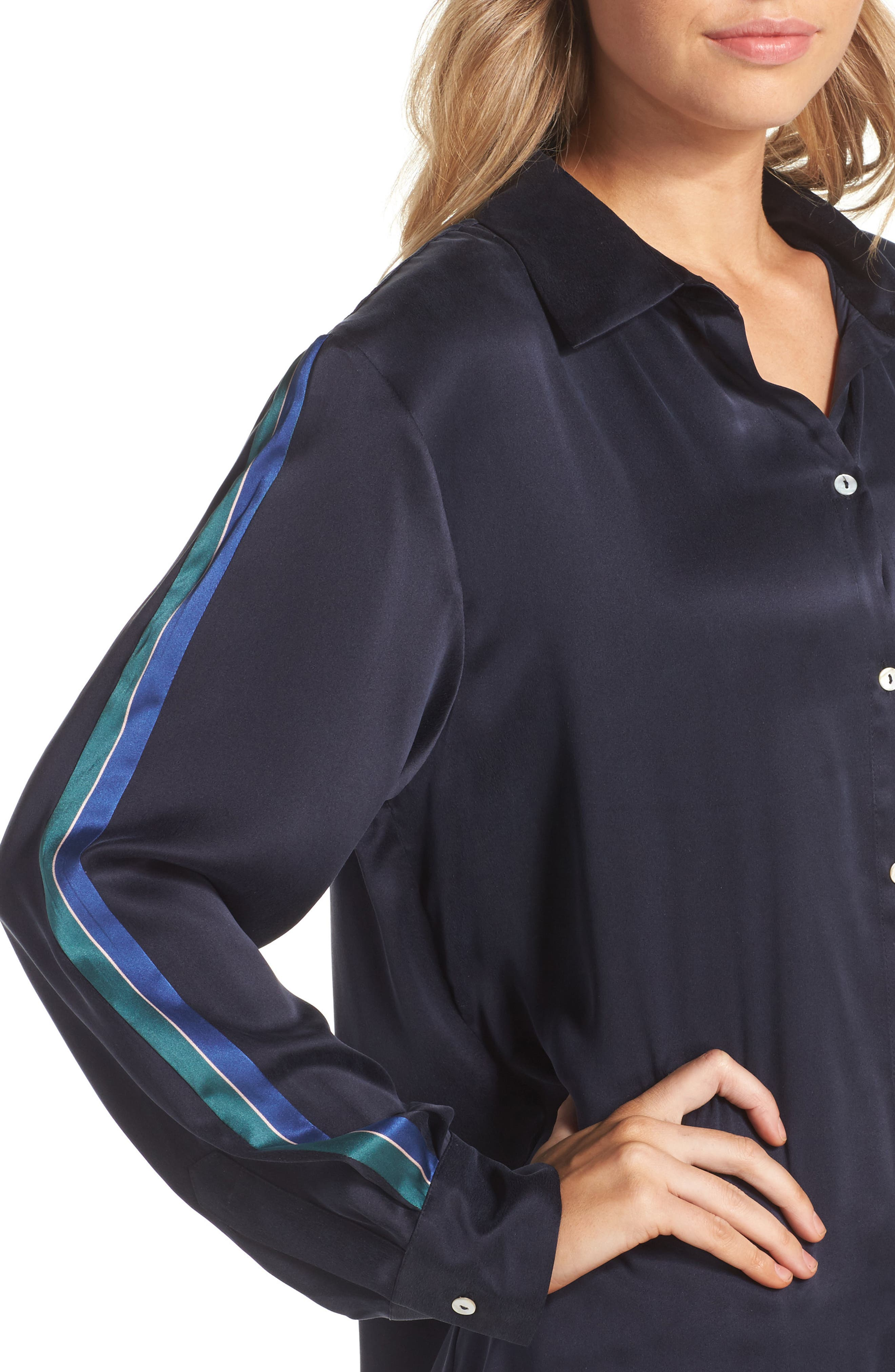 Silk Pajama Top,                             Alternate thumbnail 6, color,                             Midnight Bold Stripe