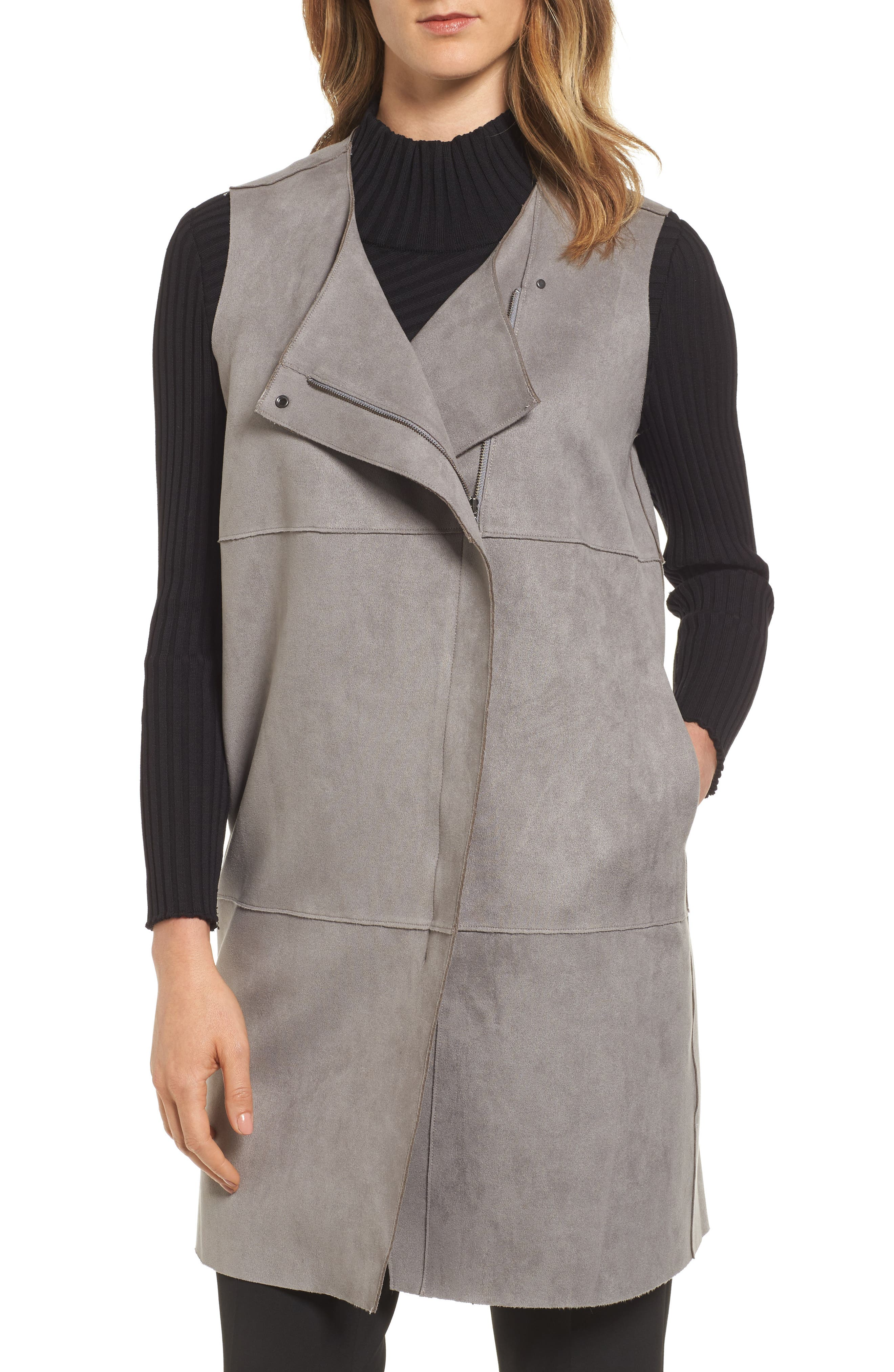 MING WANG Asymmetrical Faux Suede Vest