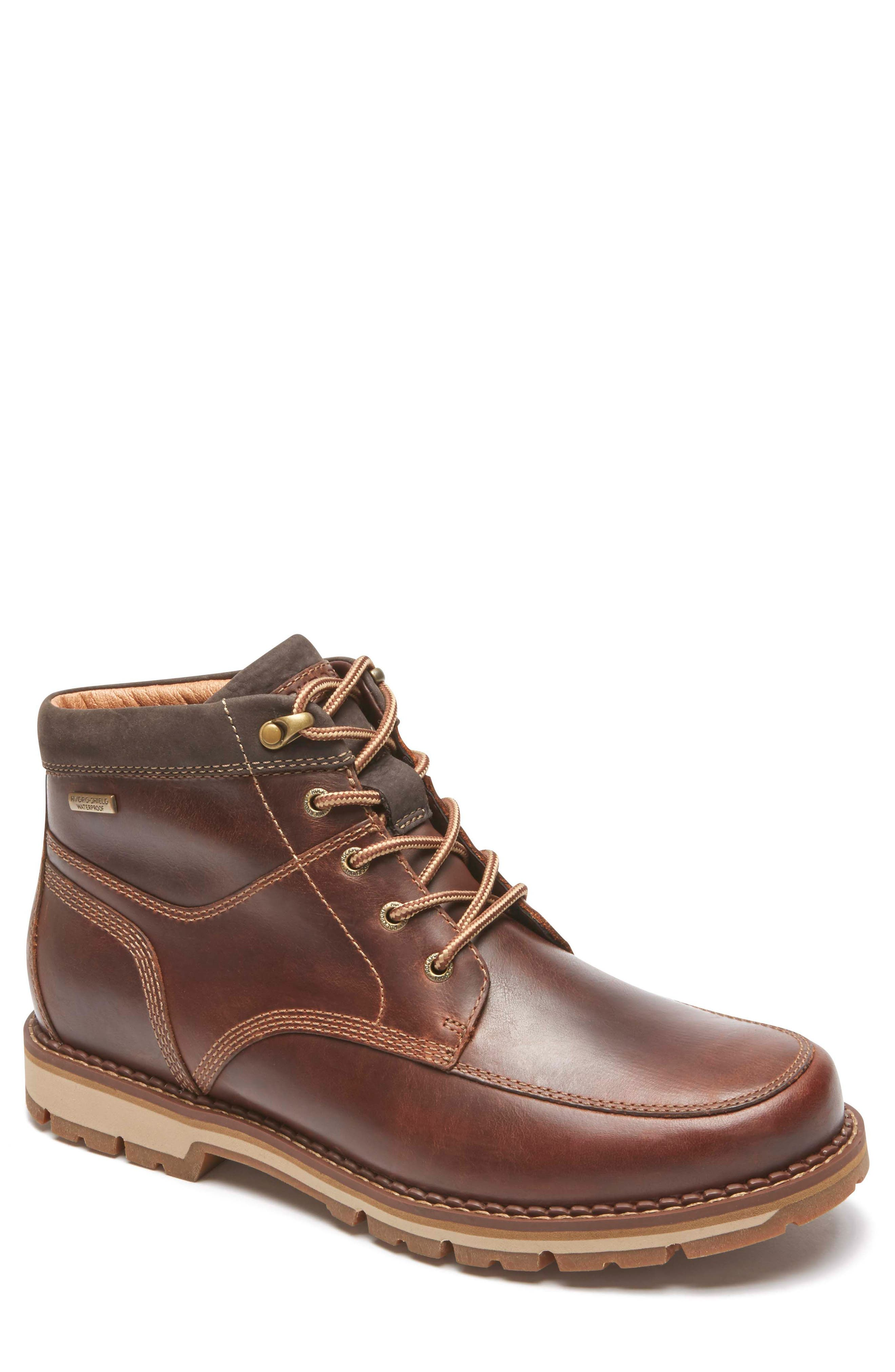 Centry Moc Toe Boot,                         Main,                         color, Brown Leather