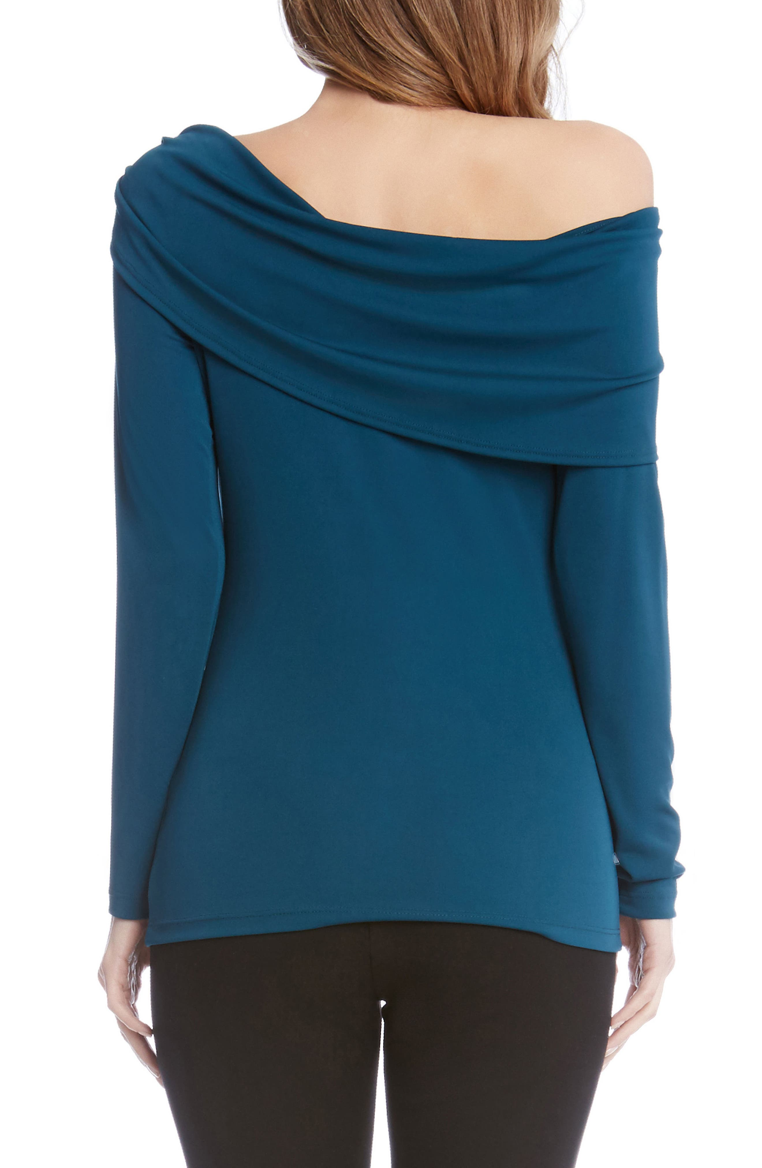 One-Shoulder Drape Top,                             Alternate thumbnail 2, color,                             Teal