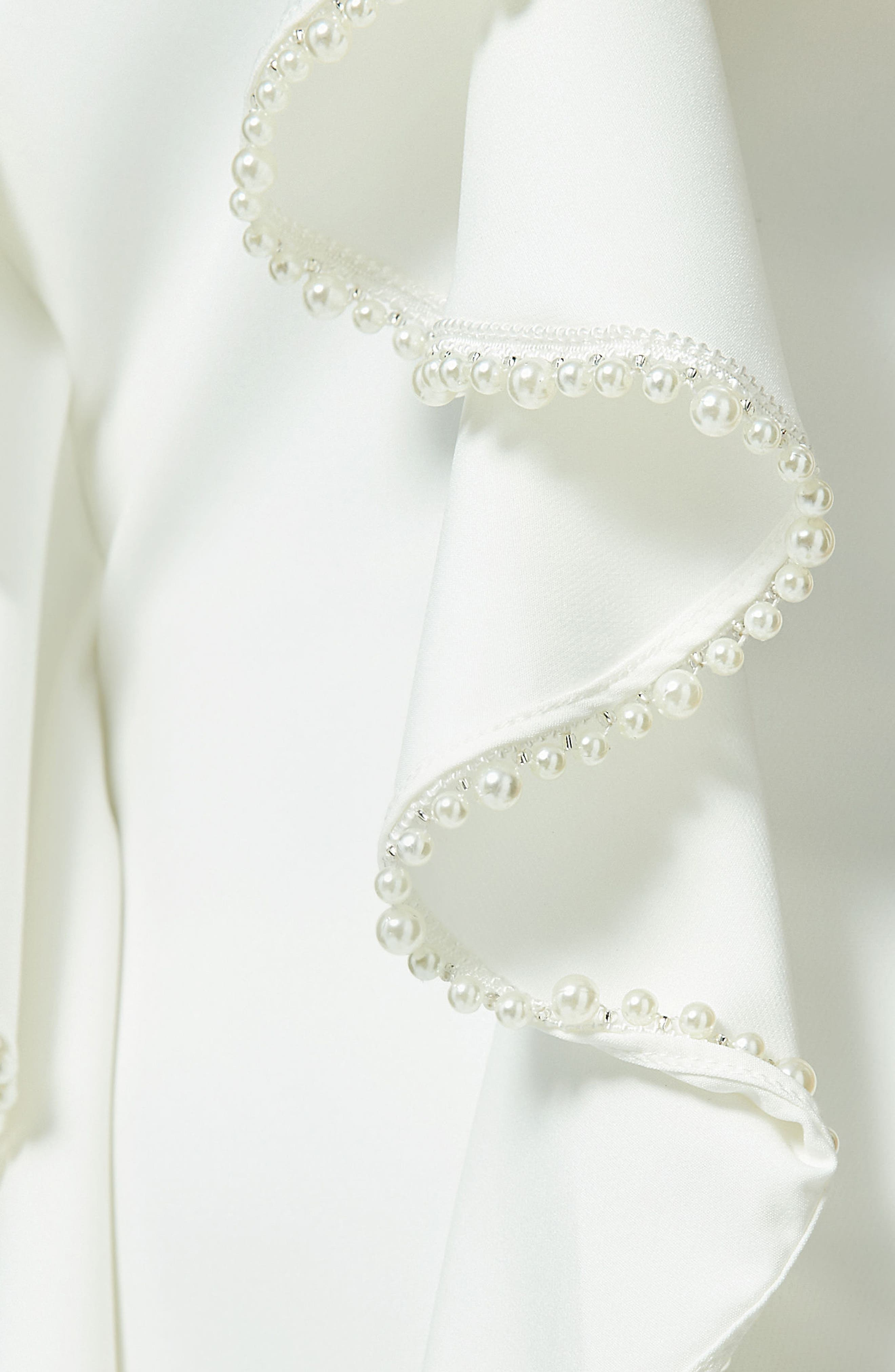 Frill & Pearl Body-Con Dress,                             Alternate thumbnail 4, color,                             White