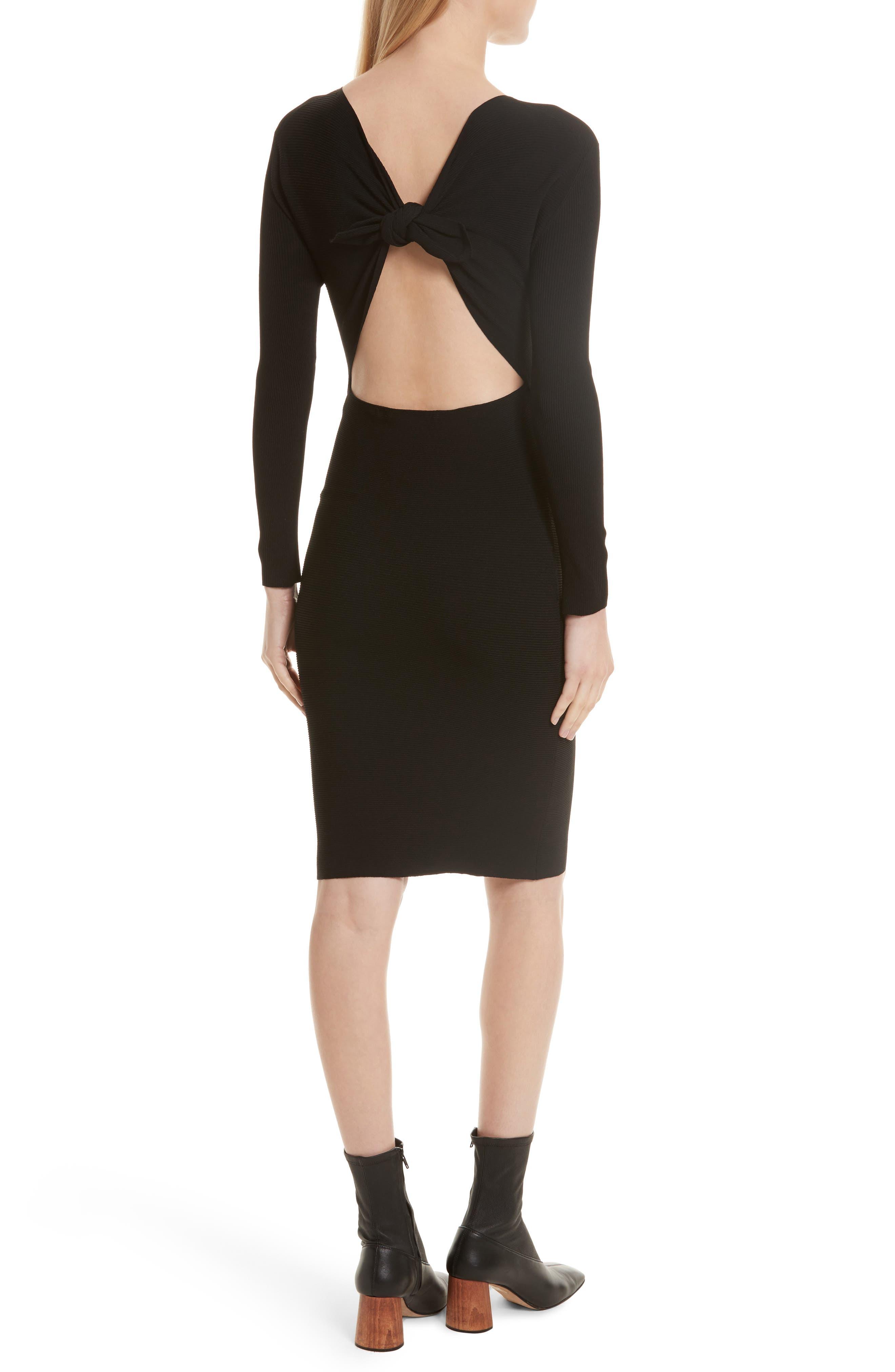 Technical Rib Open Back Dress,                             Alternate thumbnail 2, color,                             Black