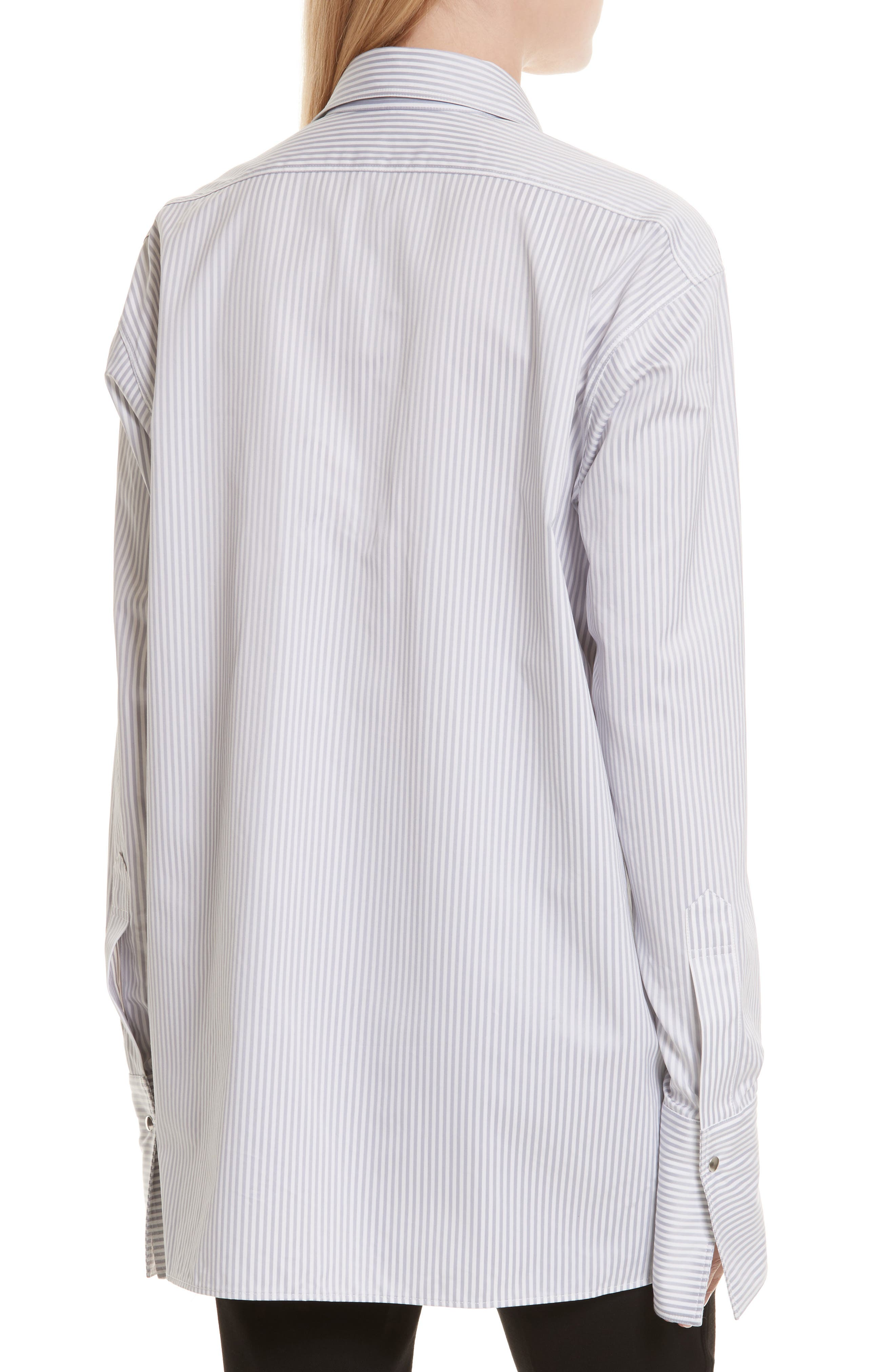 Stripe Poplin Blouse,                             Alternate thumbnail 3, color,                             Grey Multi