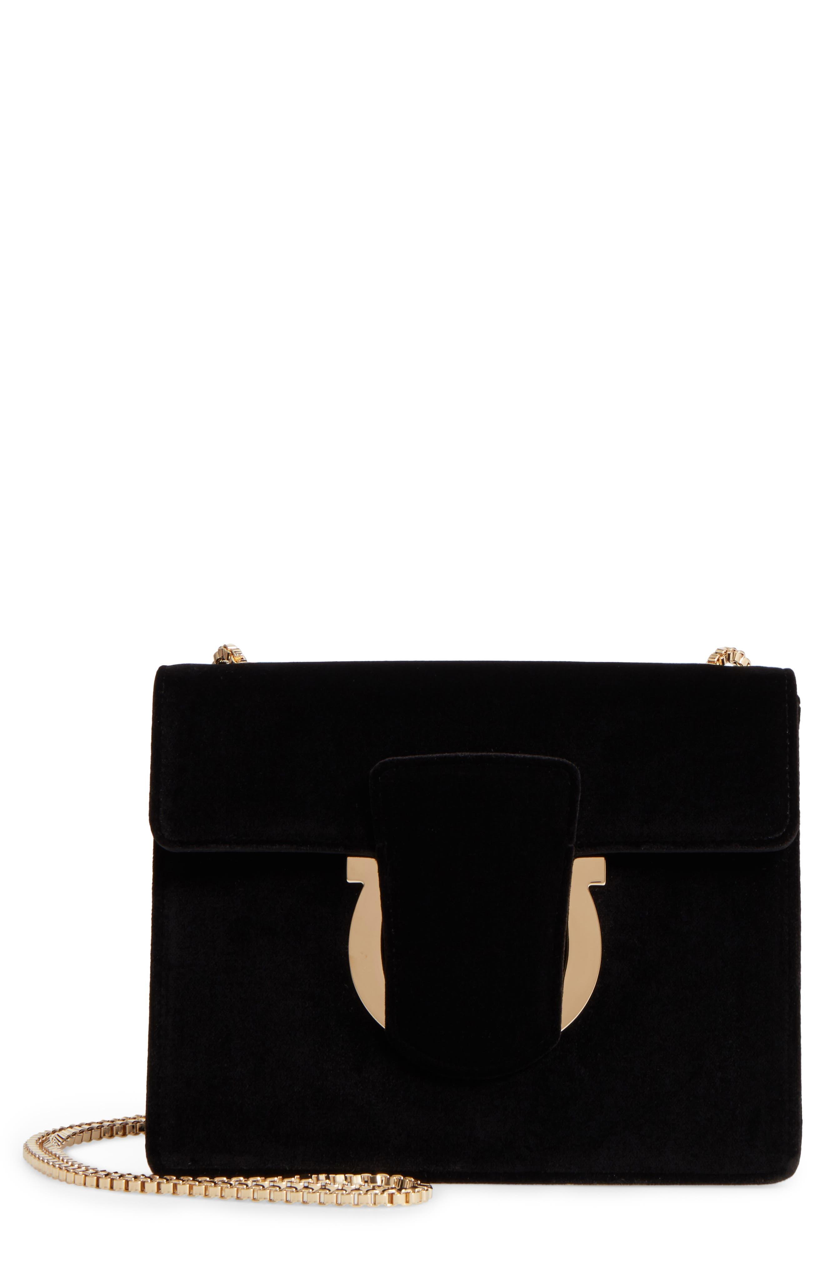 SALVATORE FERRAGAMO Small Thalia Velvet Crossbody Bag