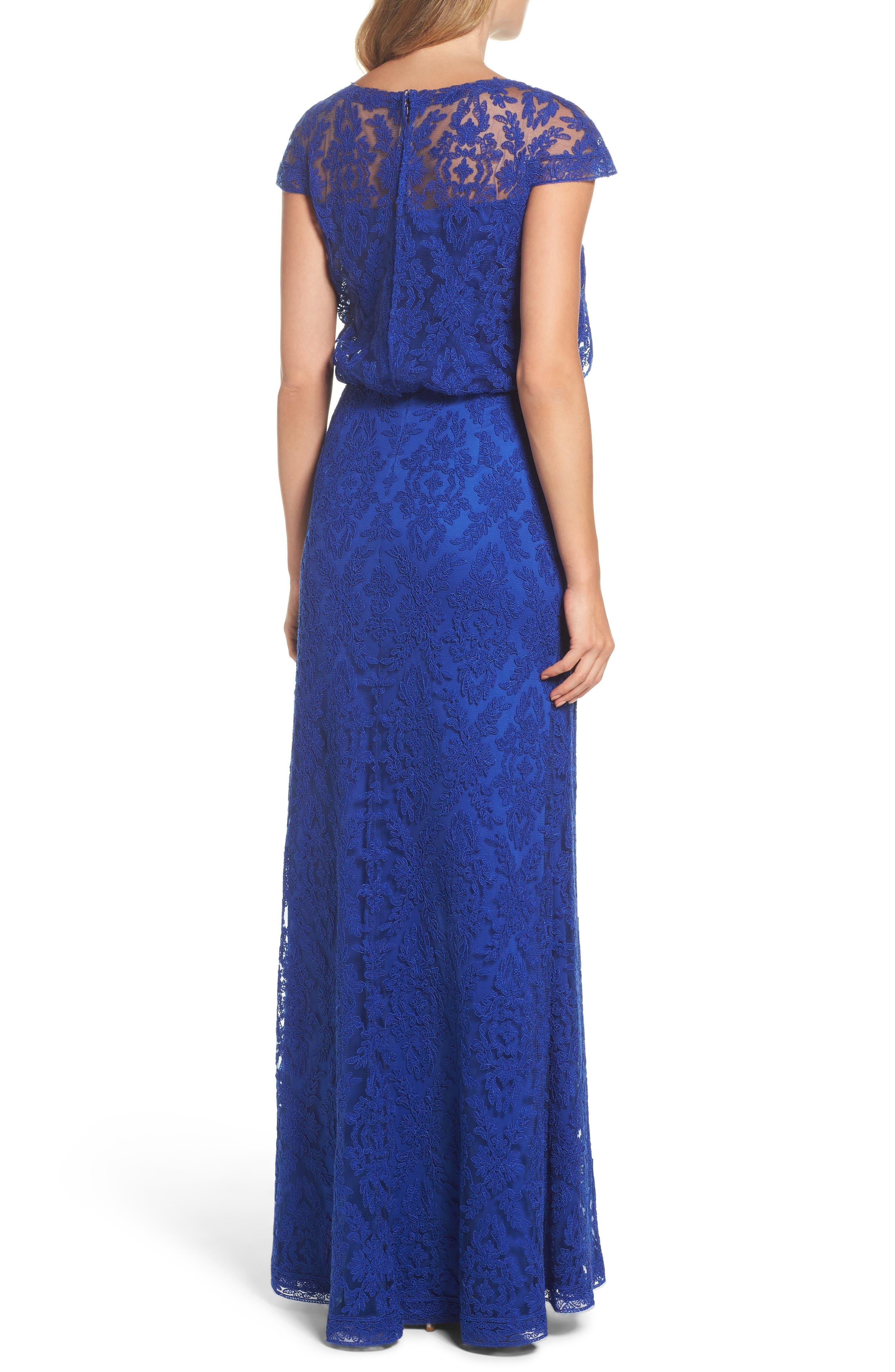 Alternate Image 2  - Tadashi Shoji Corded Lace Blouson Gown (Regular & Petite)