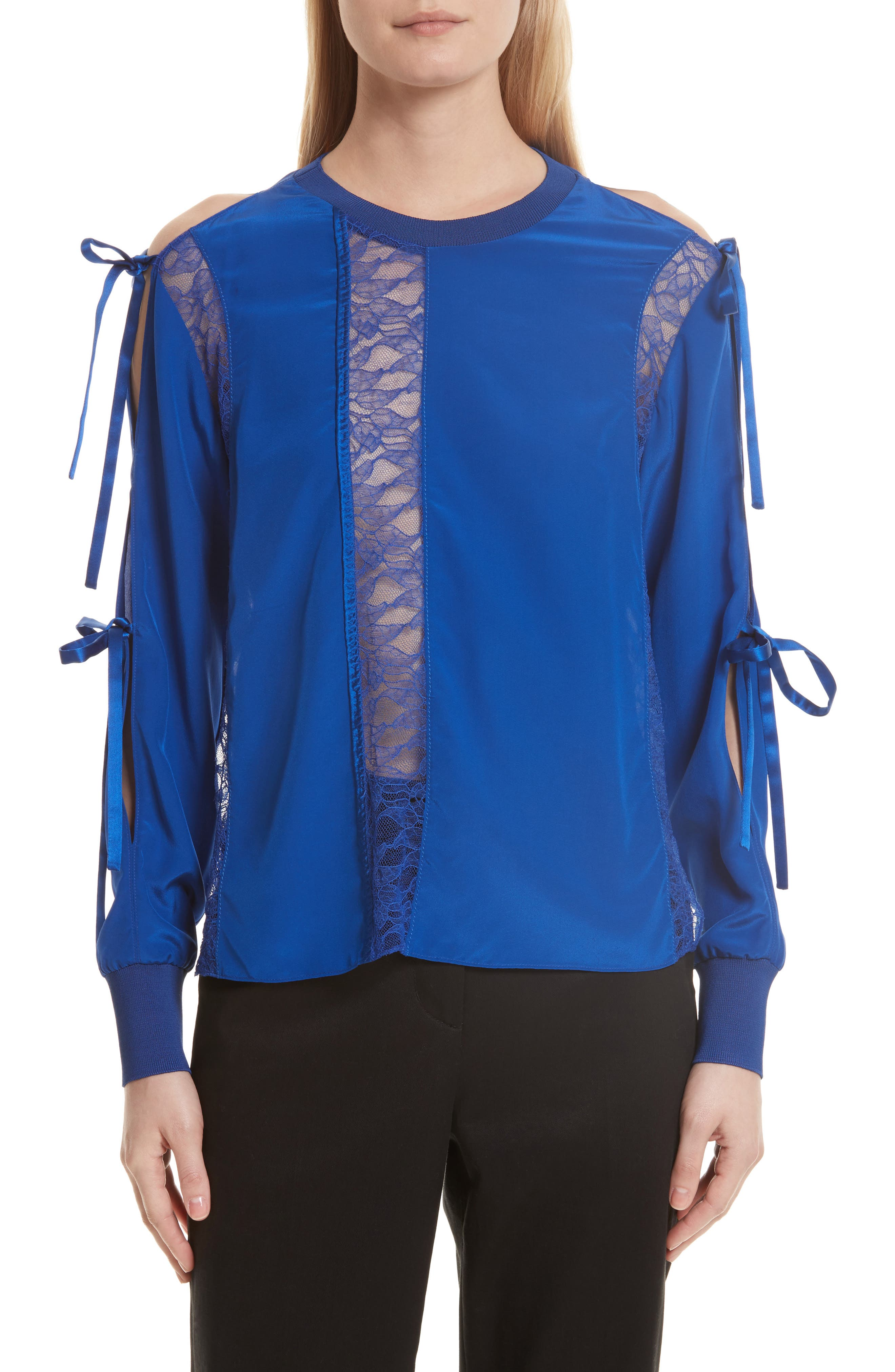Silk Tied Cold Shoulder Top,                         Main,                         color, Electric Blue