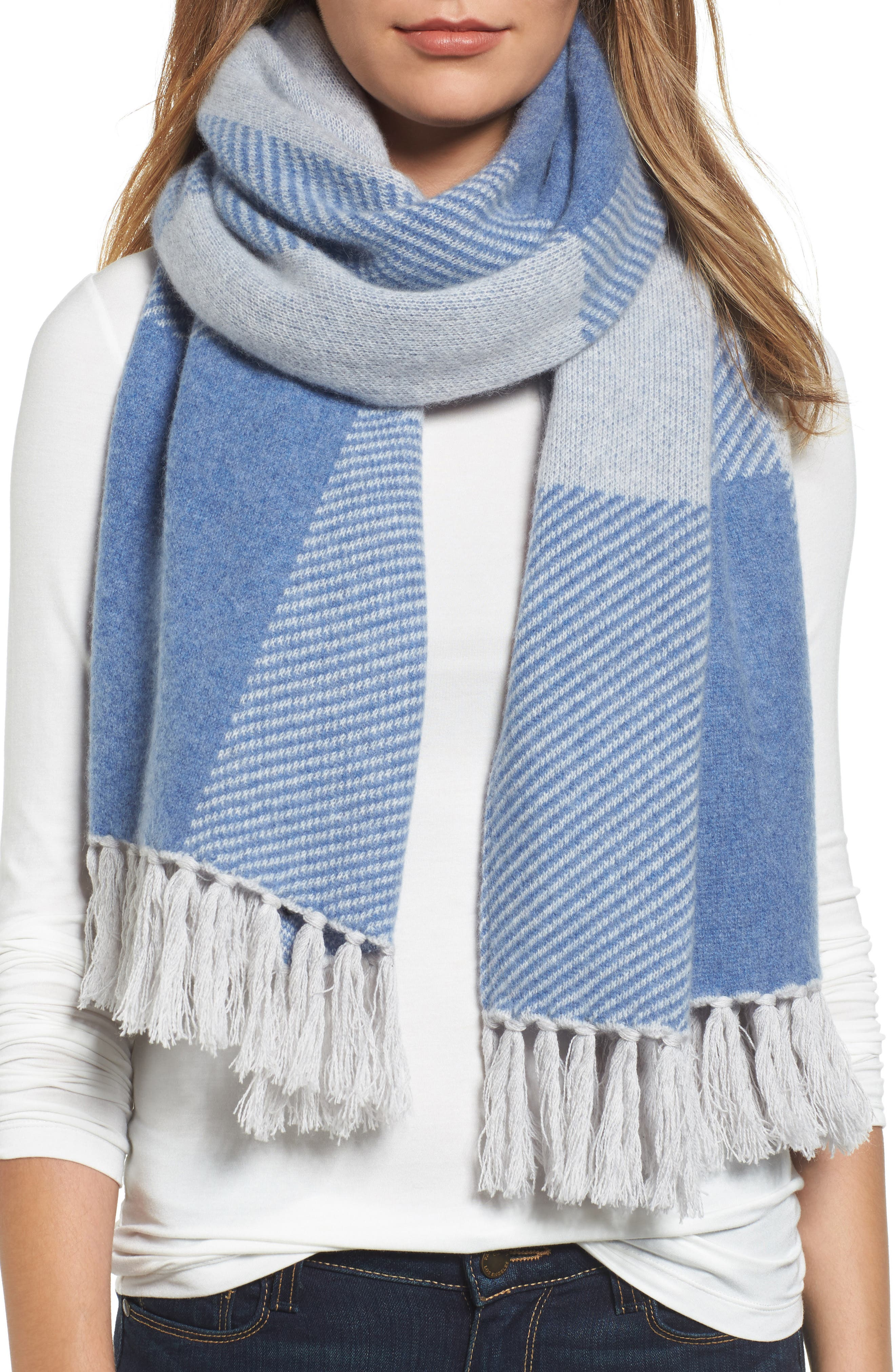 Halogen® Buffalo Check Cashmere Scarf