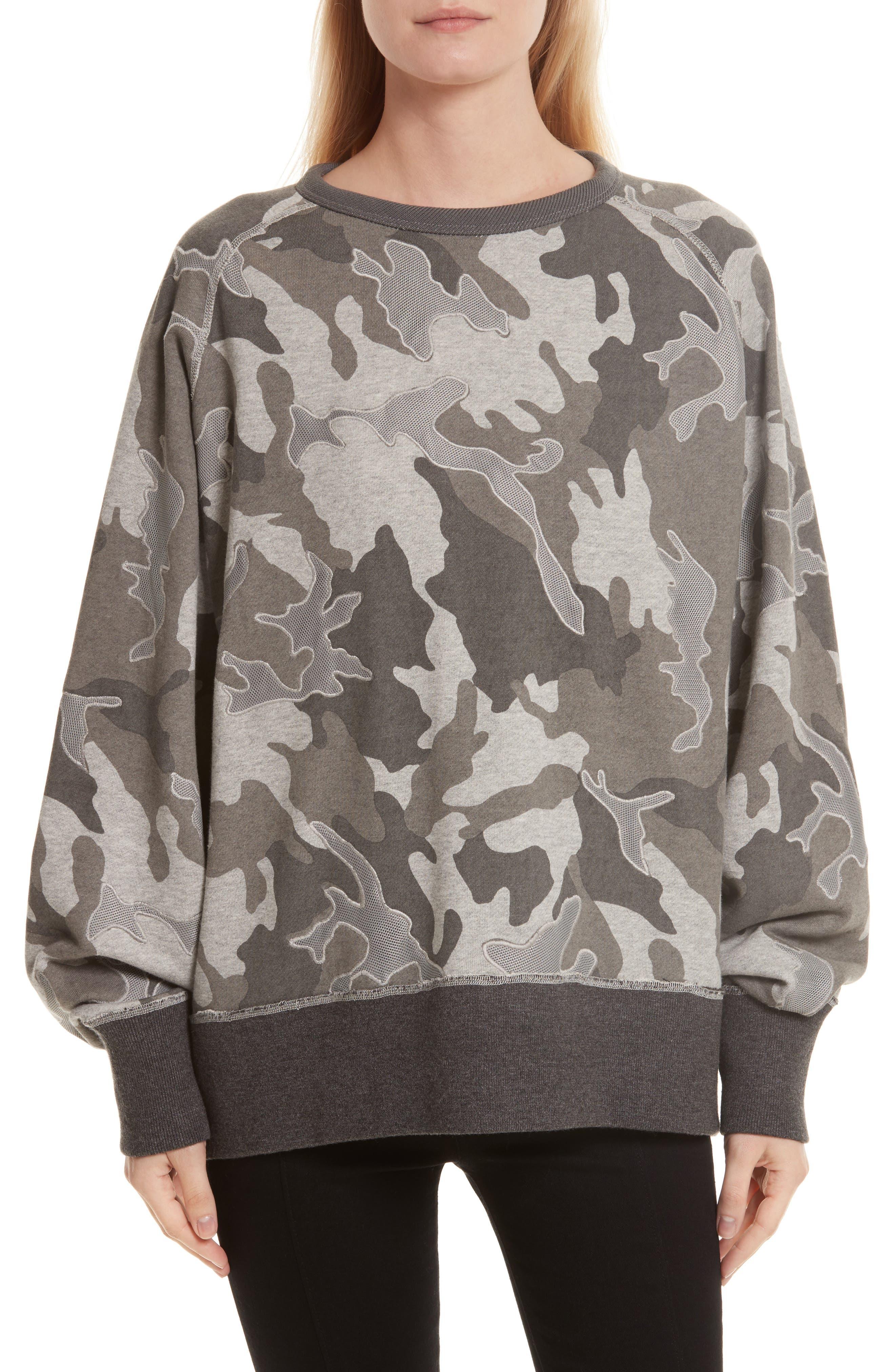 rag & bone Racer Mesh Camo Print Sweatshirt