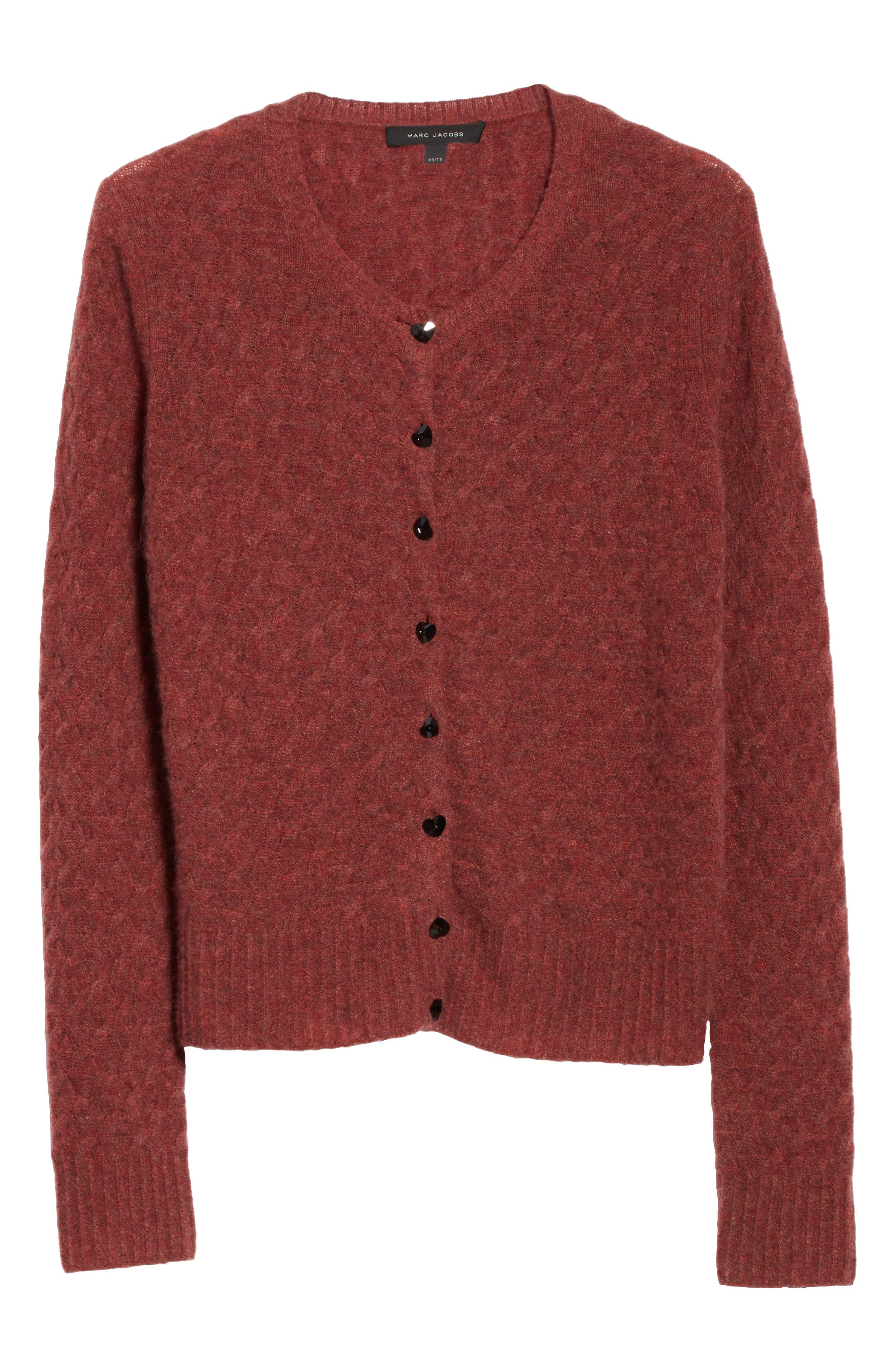 Heart Button Cashmere Cardigan,                             Alternate thumbnail 7, color,                             Pink