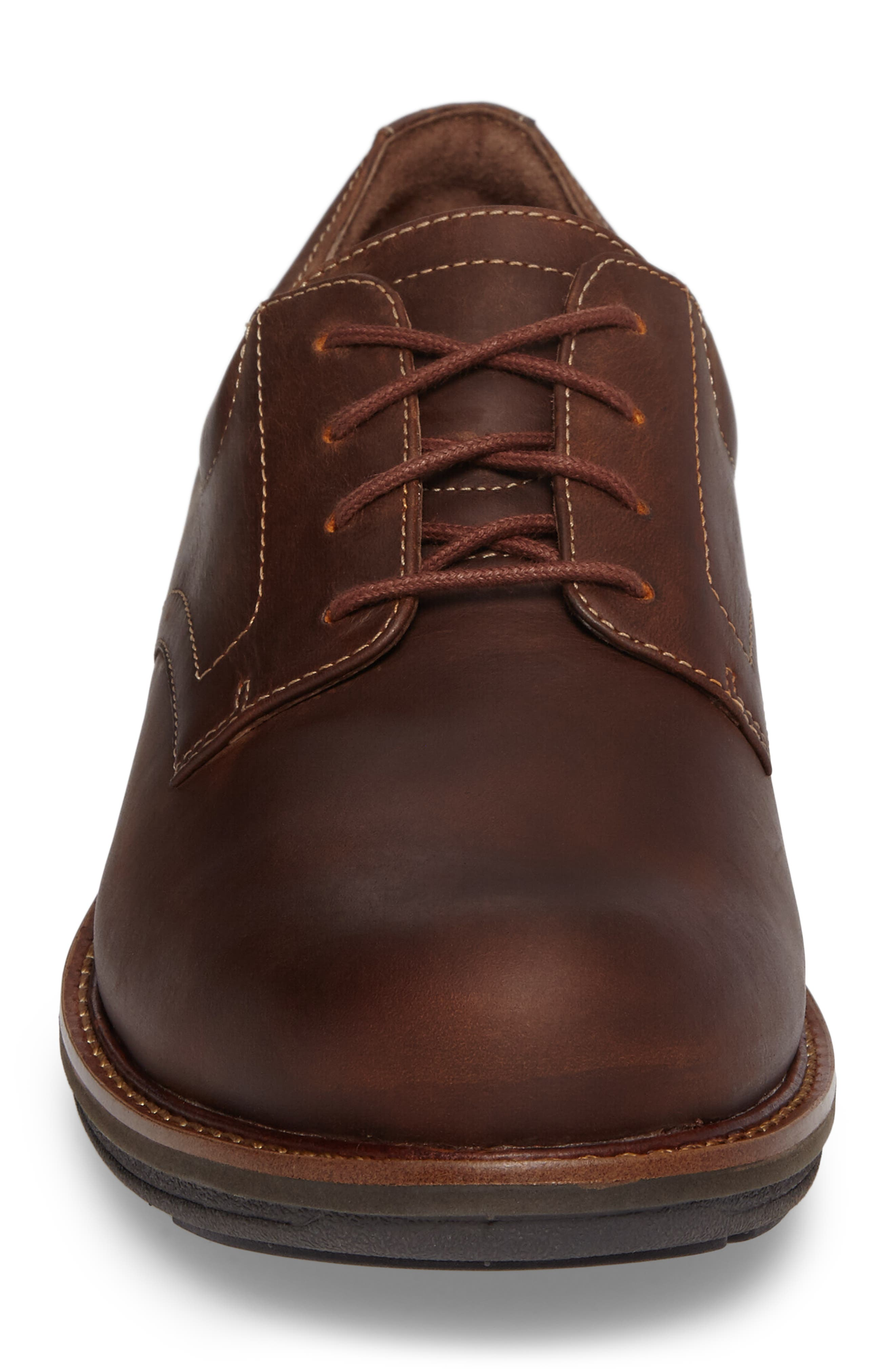 'Josh' Plain Toe Derby,                             Alternate thumbnail 4, color,                             Brown Pull-Up Leather