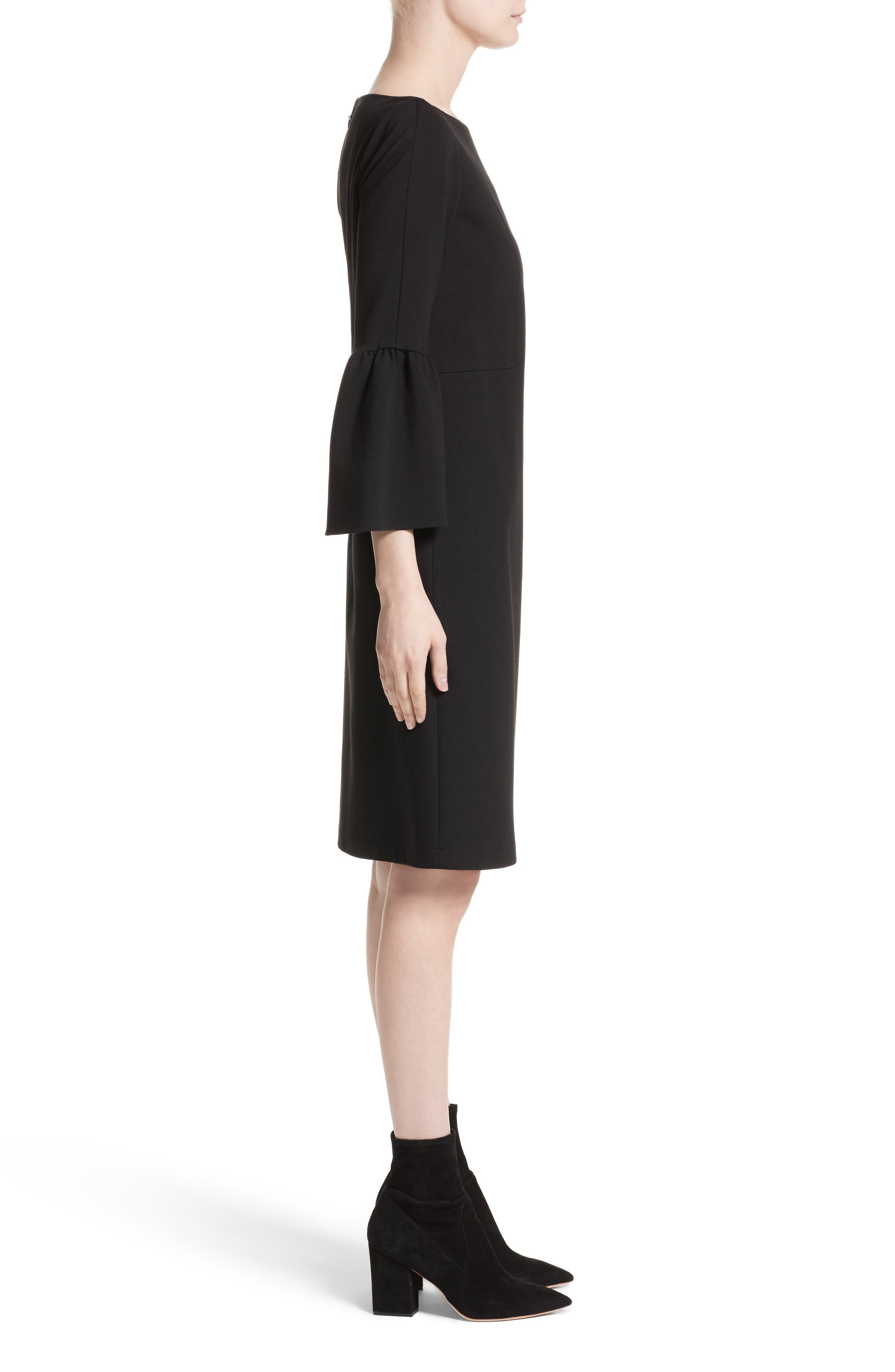 Marissa Punto Milano Dress,                             Alternate thumbnail 3, color,                             Black