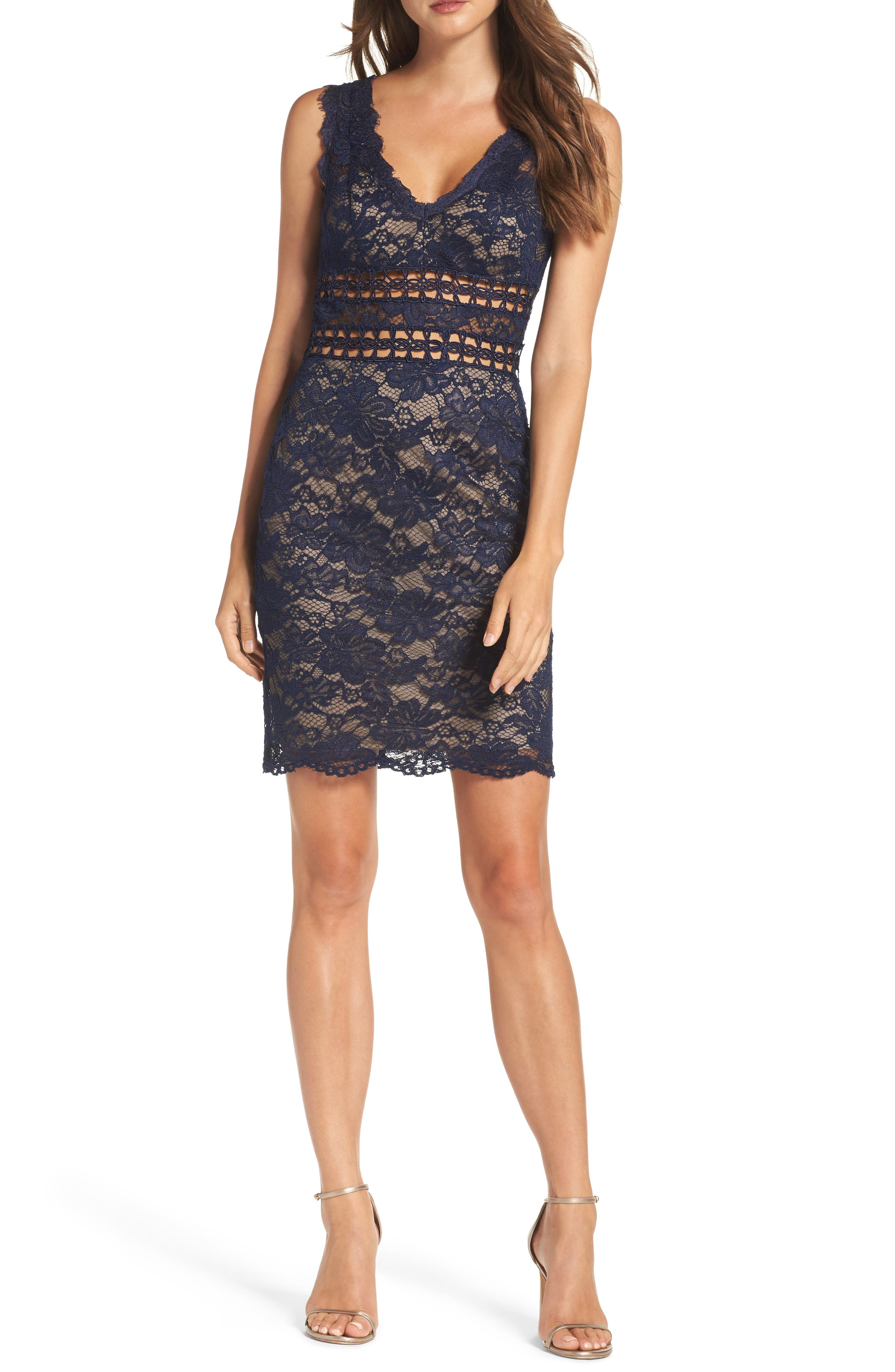 Lace Body-Con Dress,                         Main,                         color, Navy/ Nude