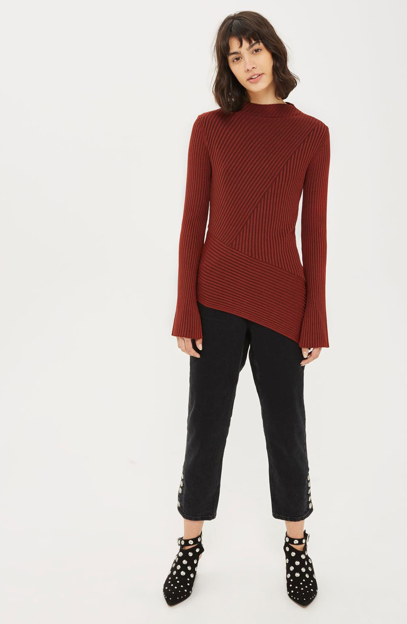 Asymmetrical Ribbed Sweater,                             Alternate thumbnail 2, color,                             Rust