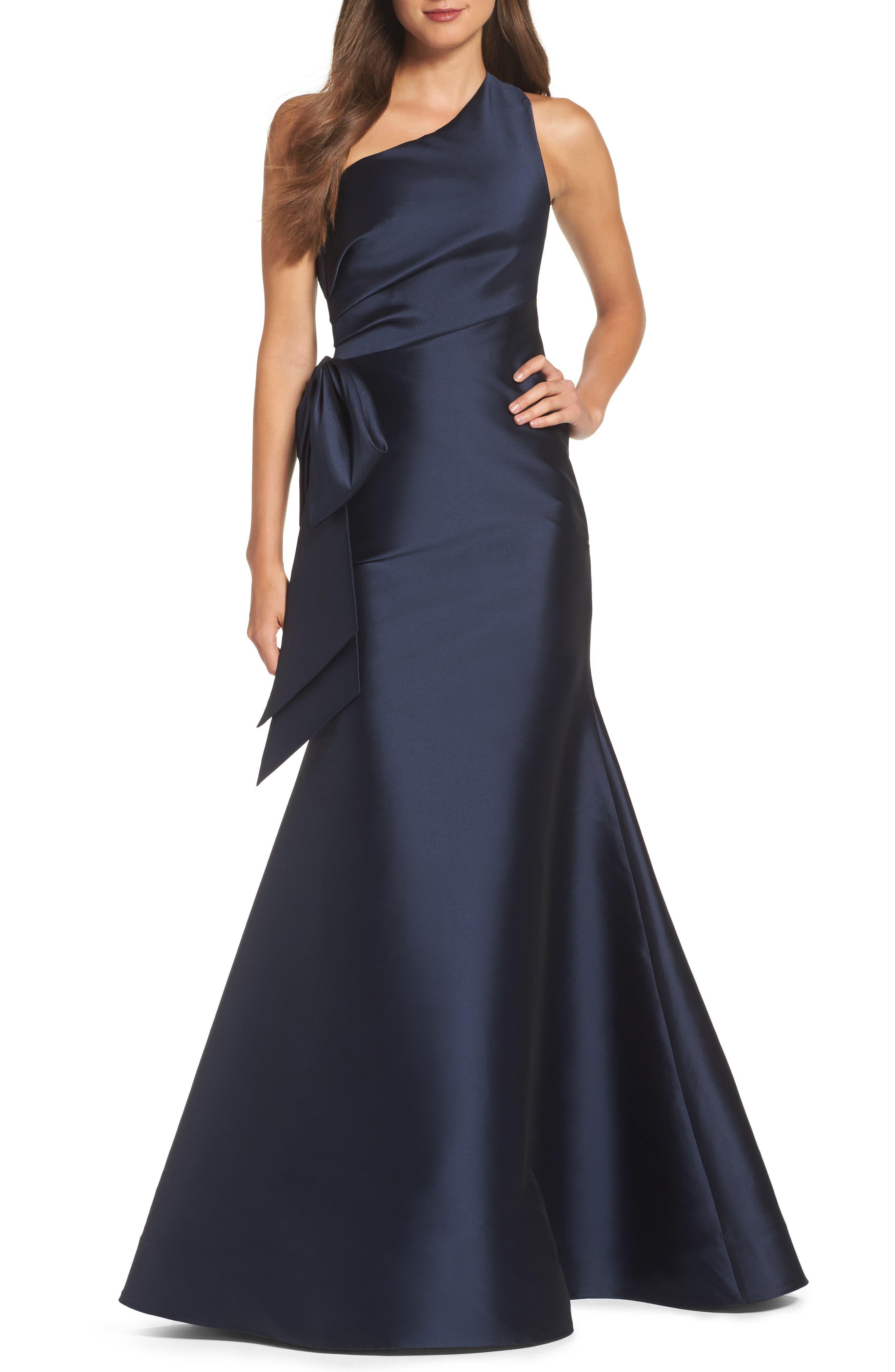 Vanessa One-Shoulder Gown,                         Main,                         color, Jet