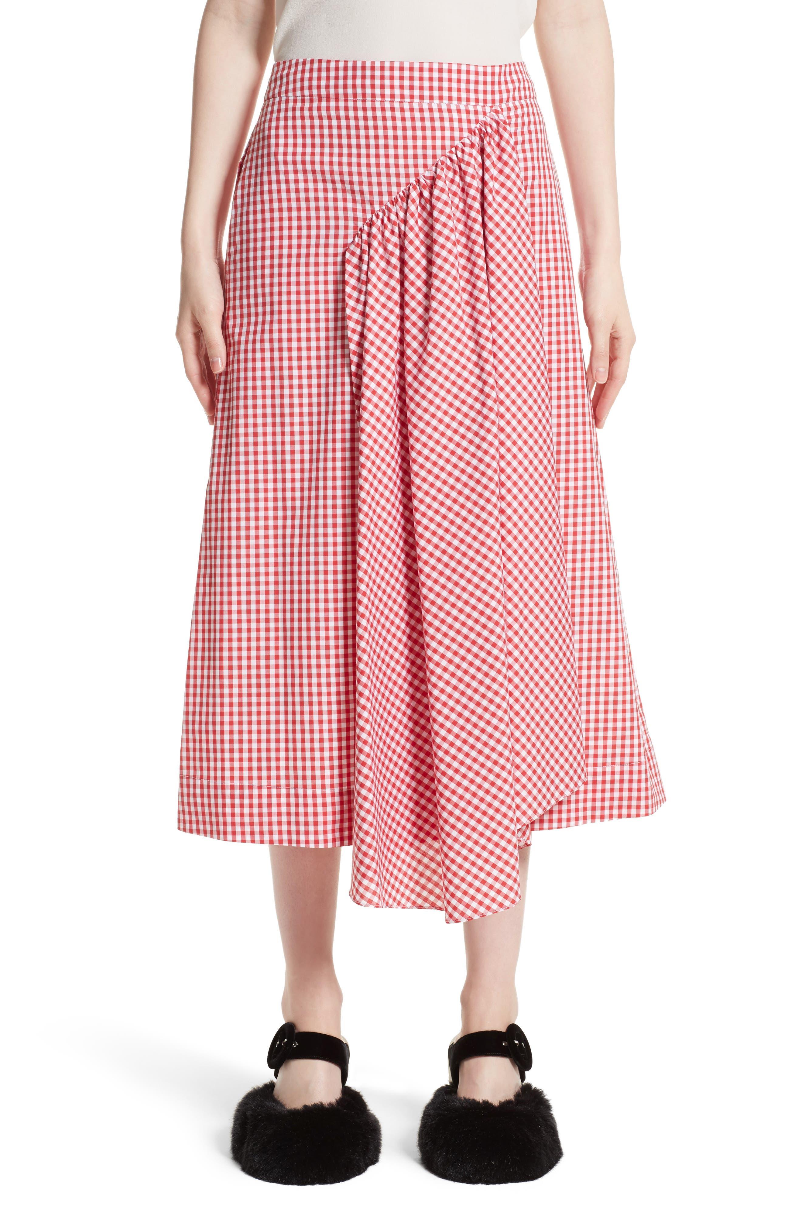 Simone Rocha Three-Panel Gingham Midi Skirt (Nordstrom Exclusive)