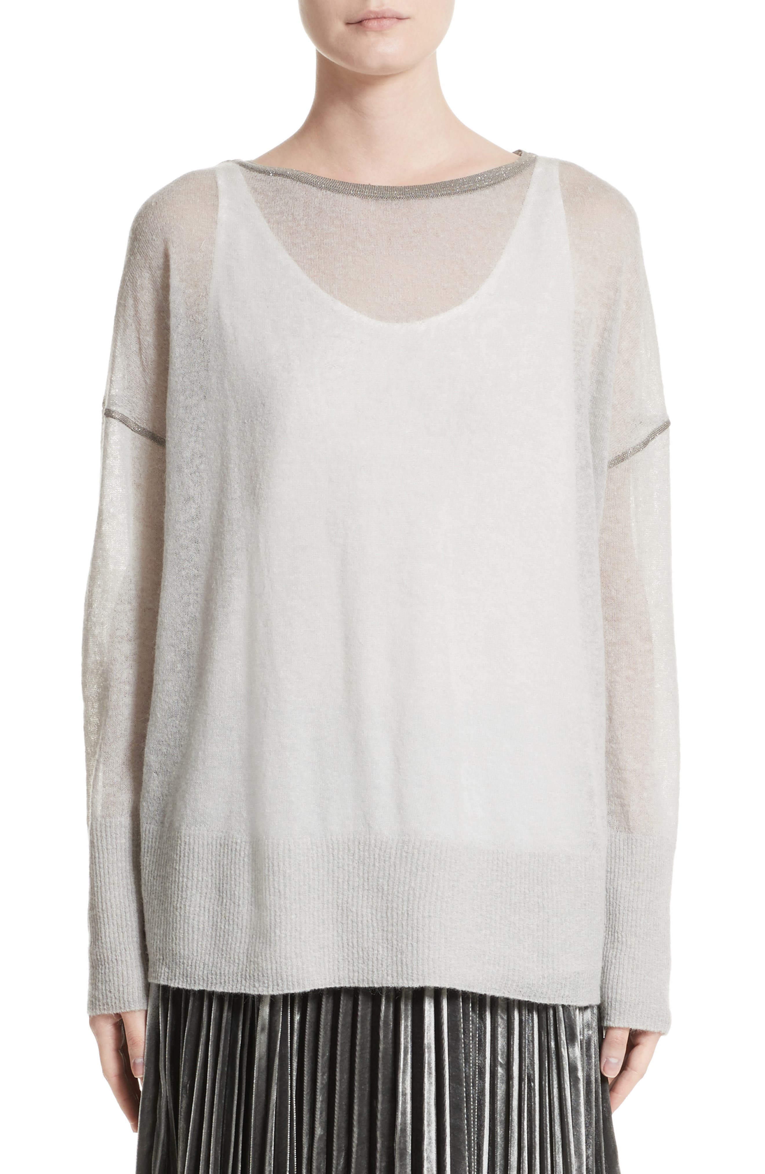 Main Image - Lafayette 148 New York Sequin Trim Sweater with Tank