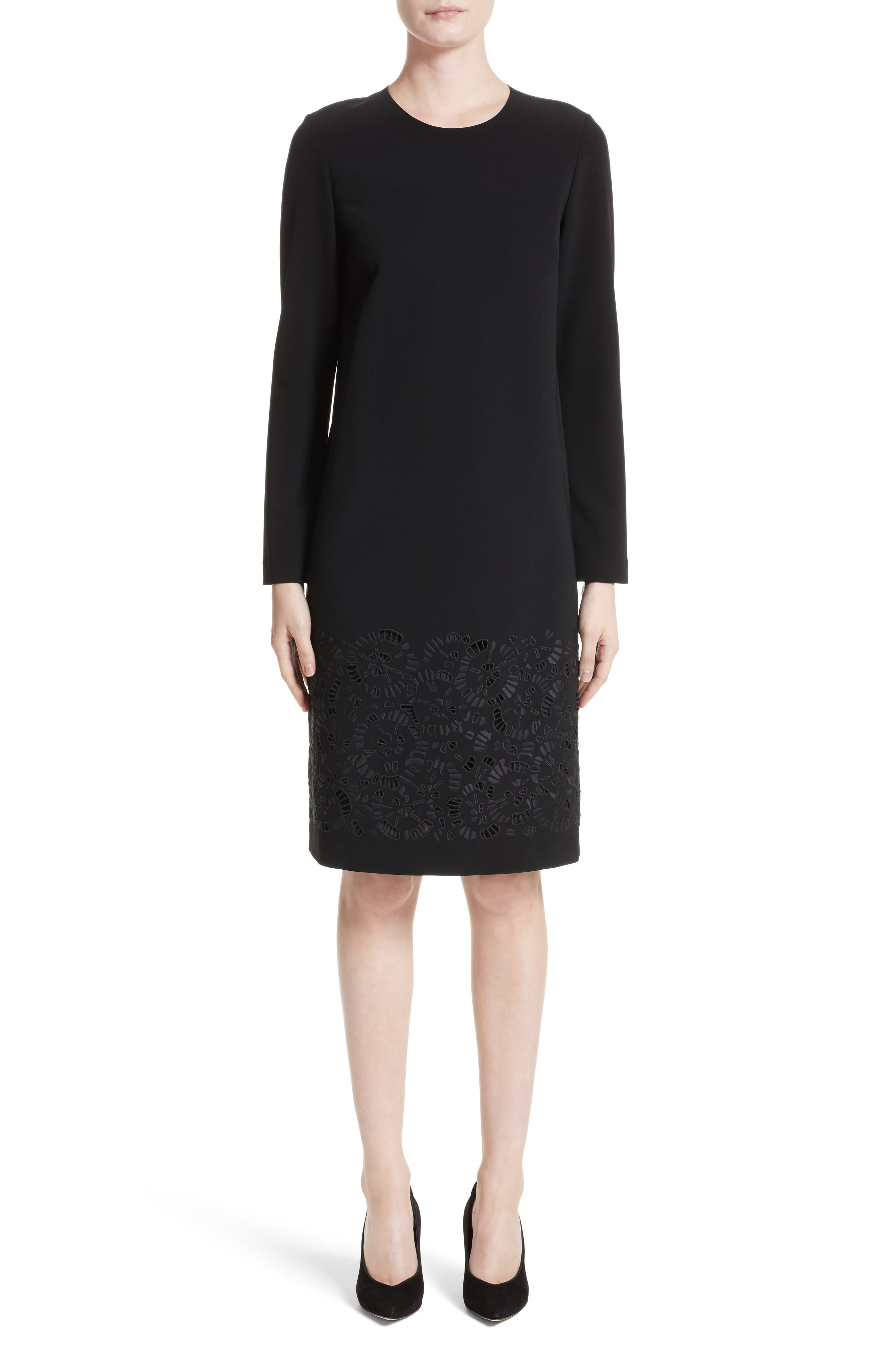 Main Image - Lafayette 148 New York Corbin Embroidered Laser Cut Dress