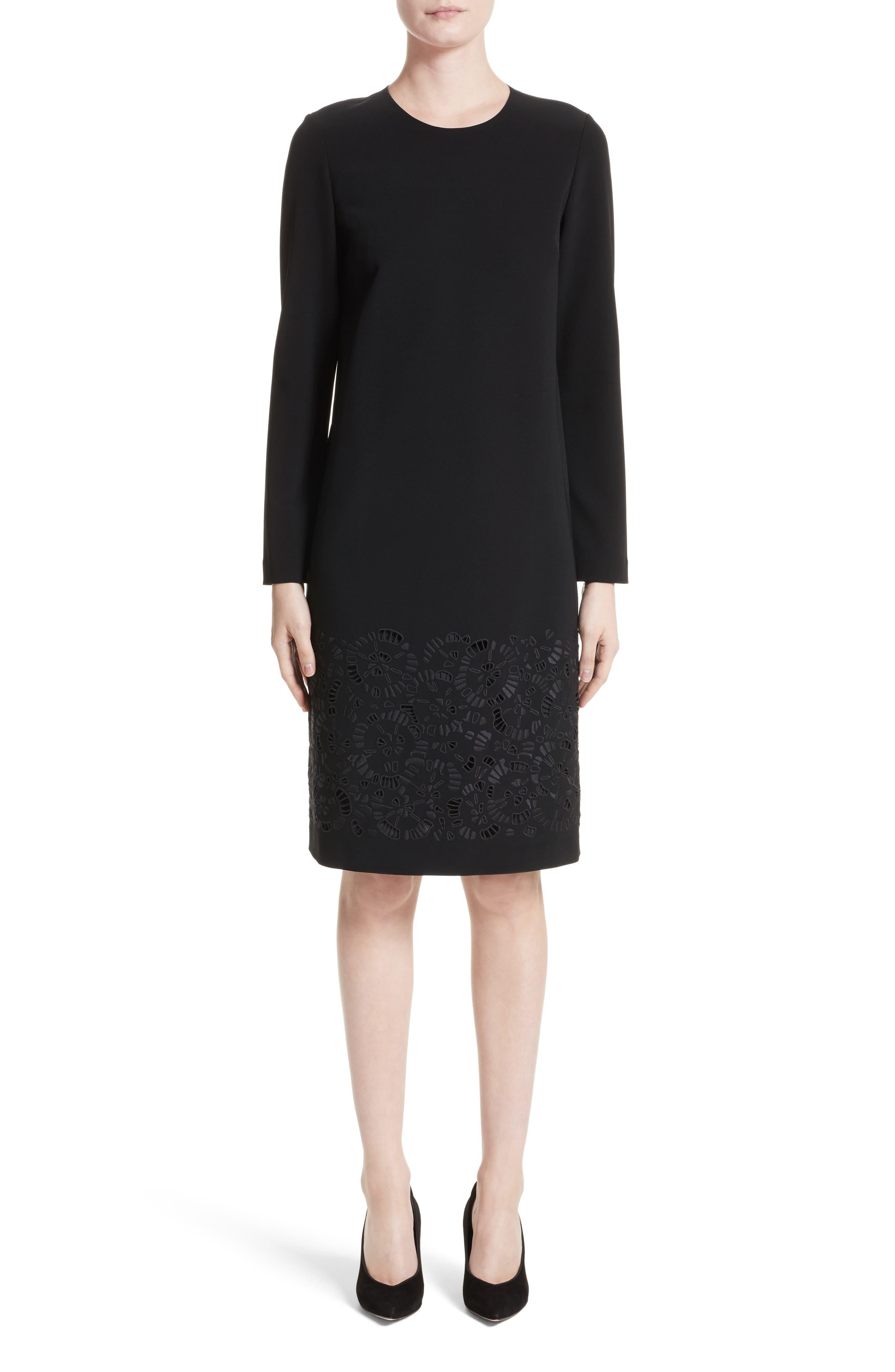 Corbin Embroidered Laser Cut Dress,                         Main,                         color, Black