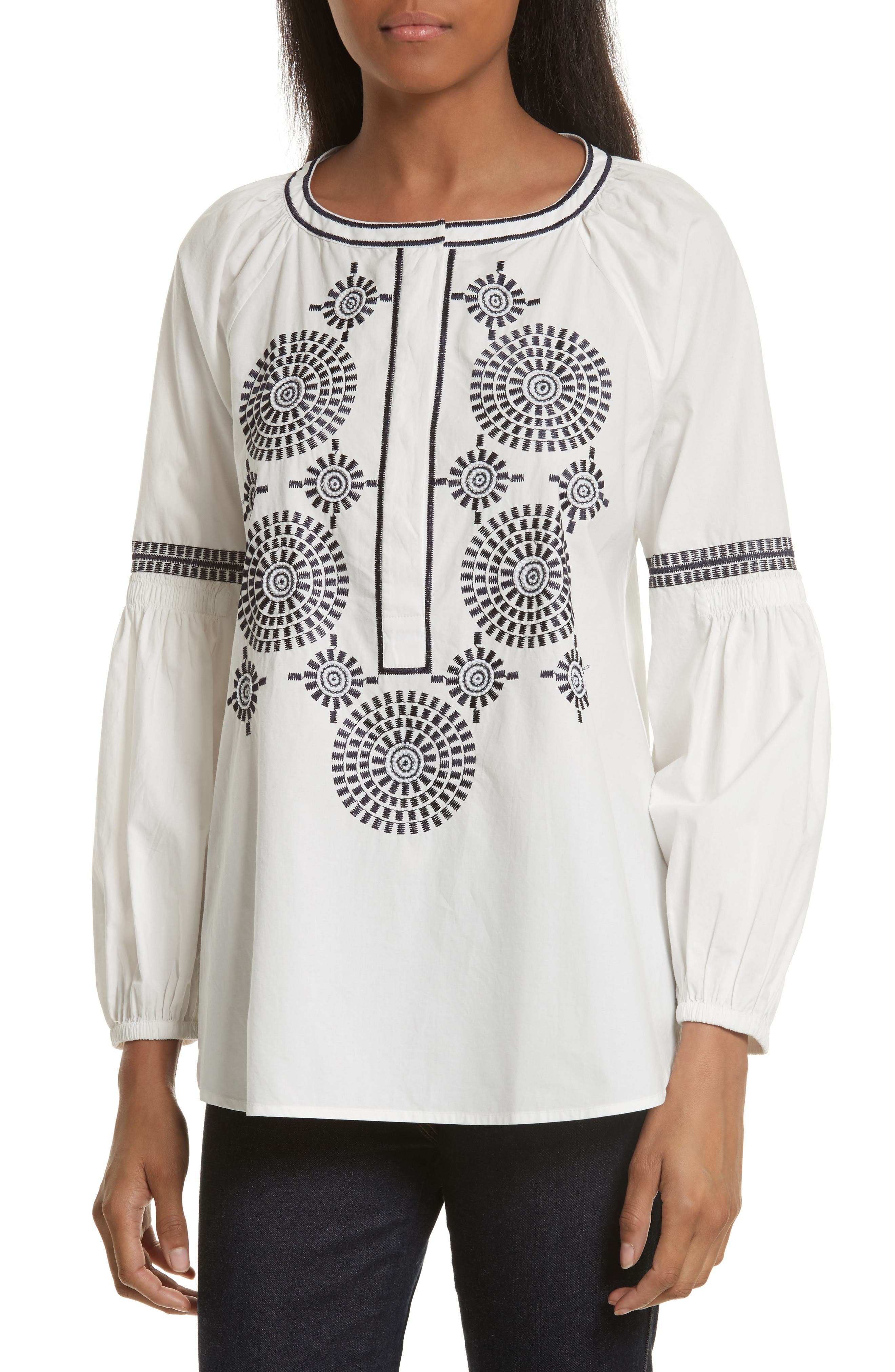 Main Image - Tory Burch Aubrey Embroidered Peasant Top