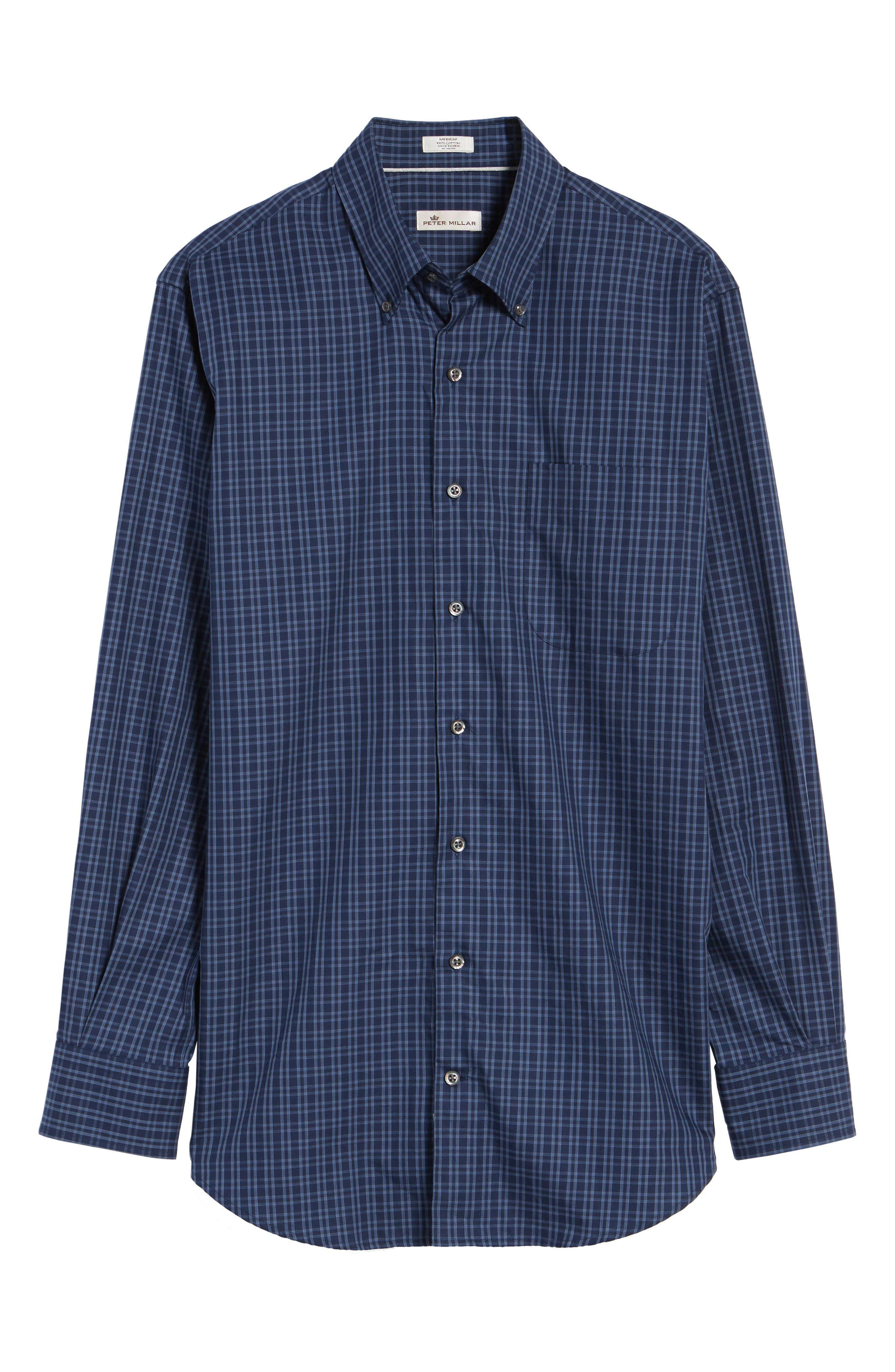 Autumn Check Regular Fit Sport Shirt,                             Alternate thumbnail 6, color,                             Seaboard Navy