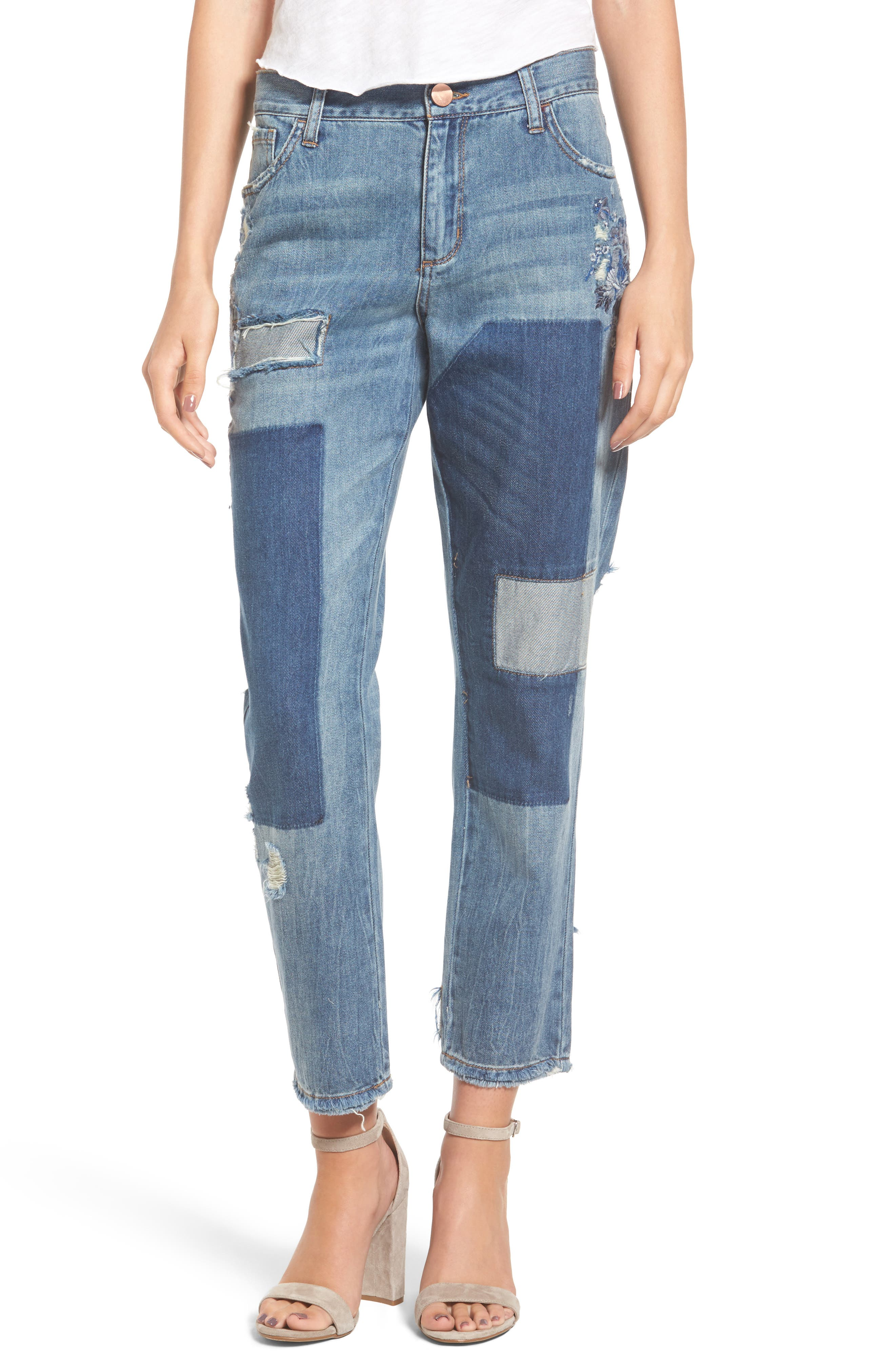 Tinsel Embroidered Patch Boyfriend Jeans