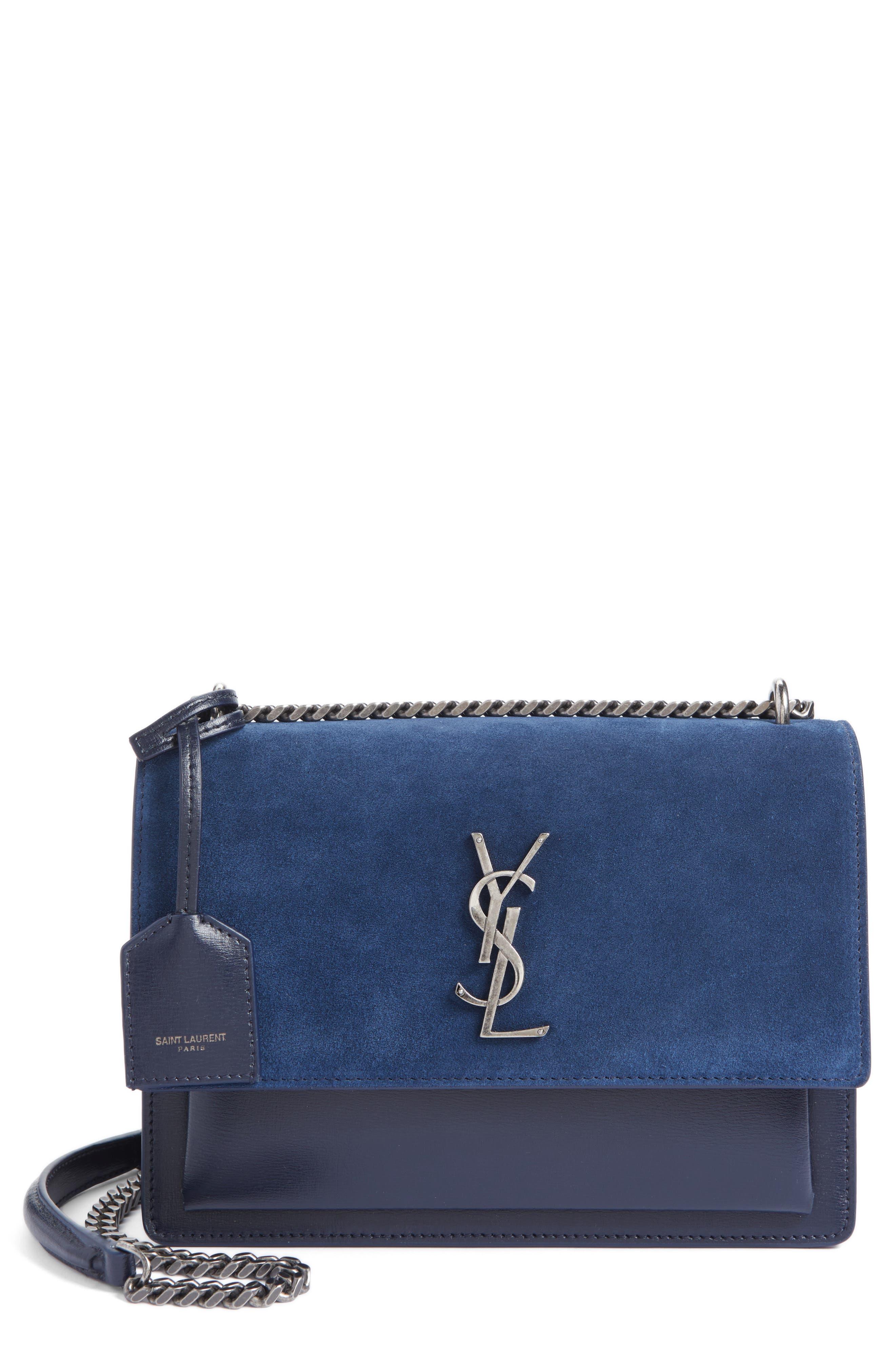 SAINT LAURENT Medium Sunset Leather & Suede Shoulder Bag