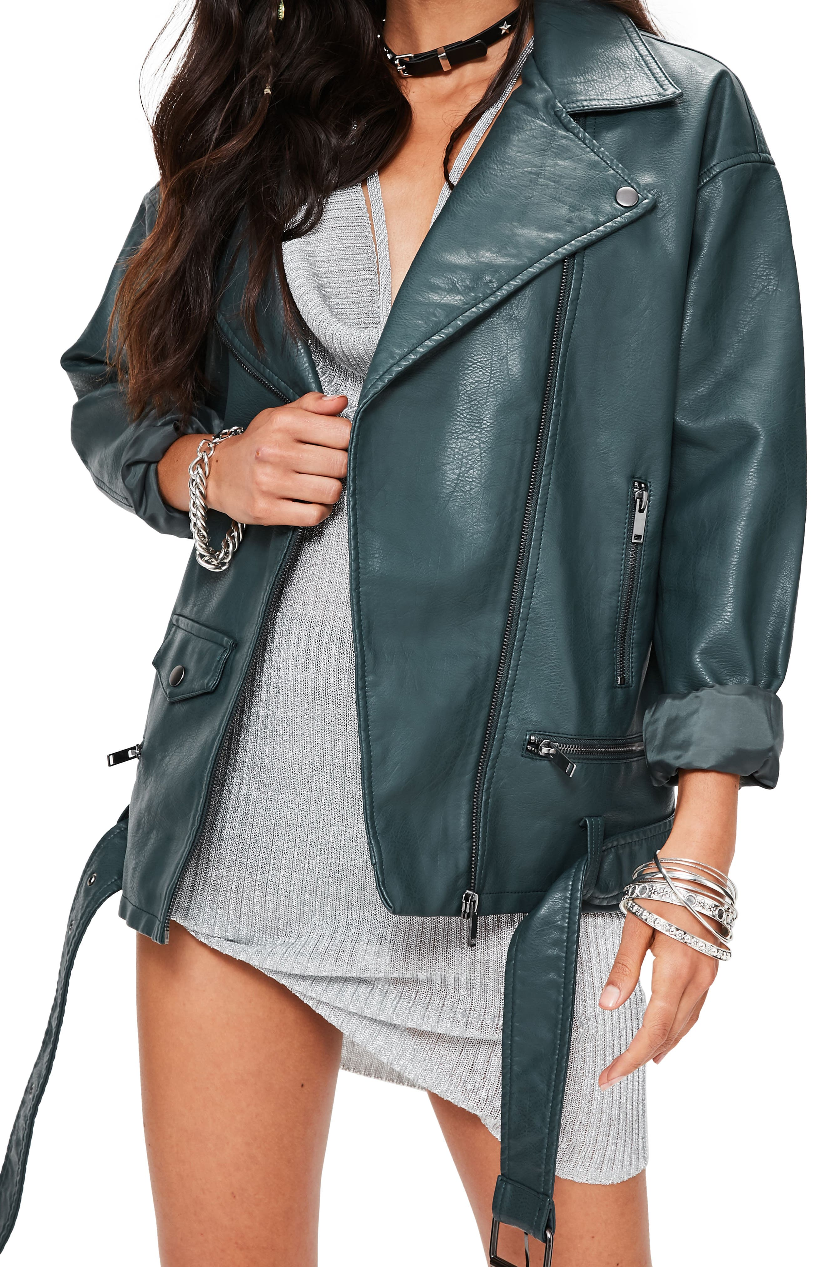 Main Image - Missguided Faux Leather Biker Jacket