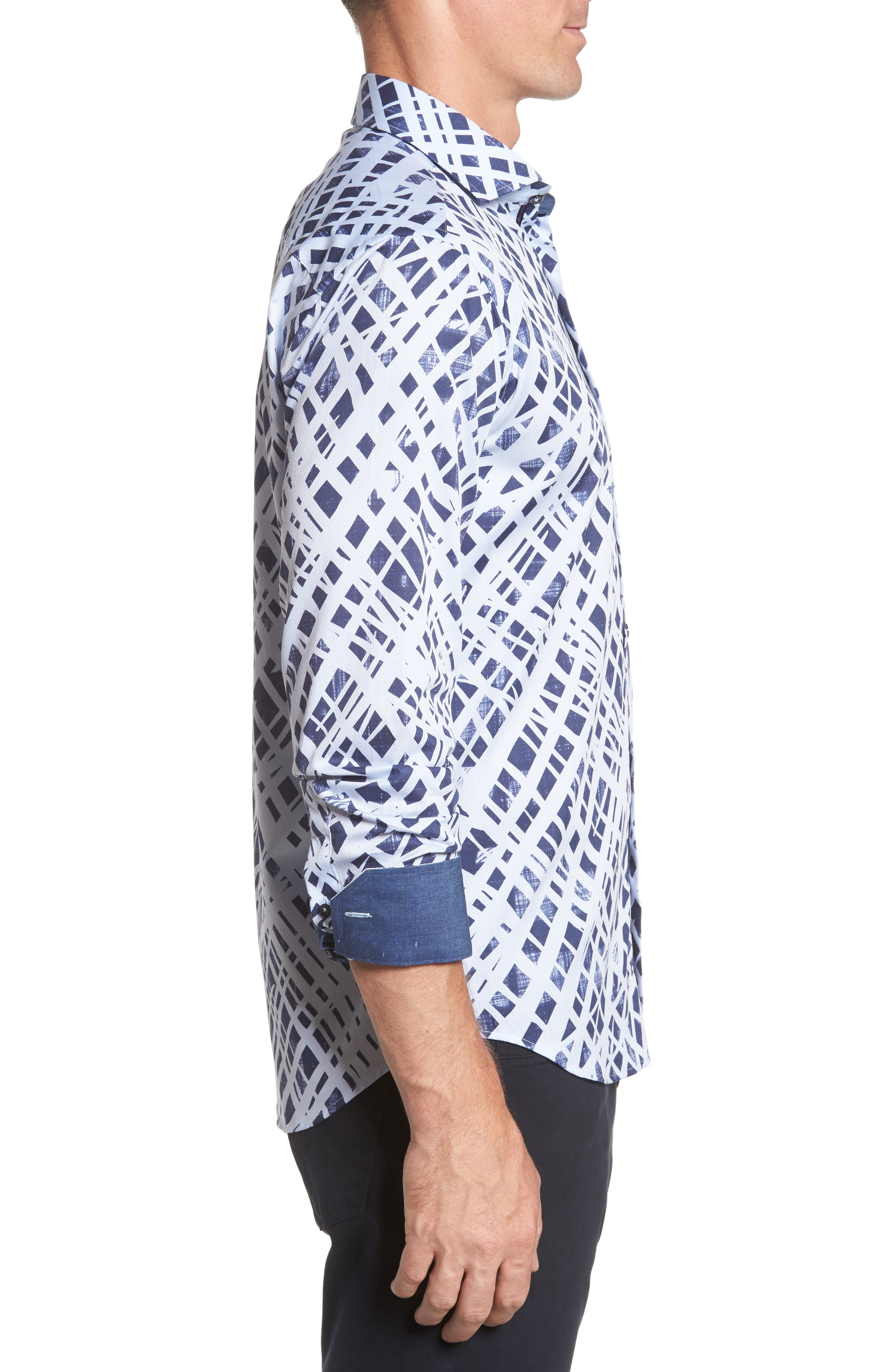 Shaped Fit Abstract Print Sport Shirt,                             Alternate thumbnail 3, color,                             Ice