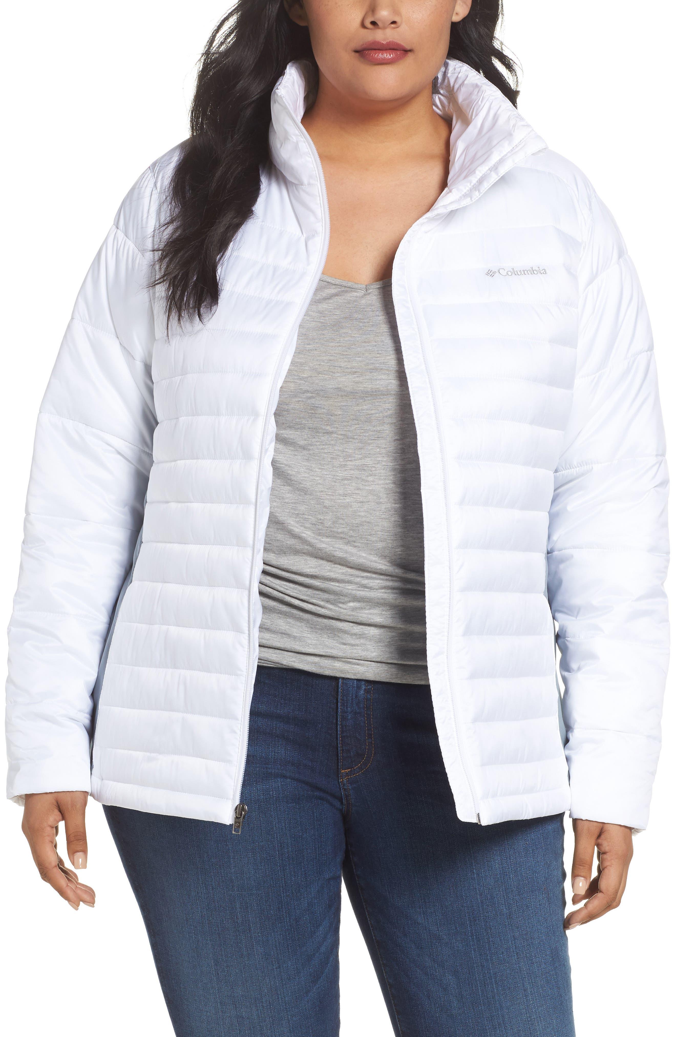 Powder Pillow Hybrid Jacket,                         Main,                         color, White/ Tradewinds Grey
