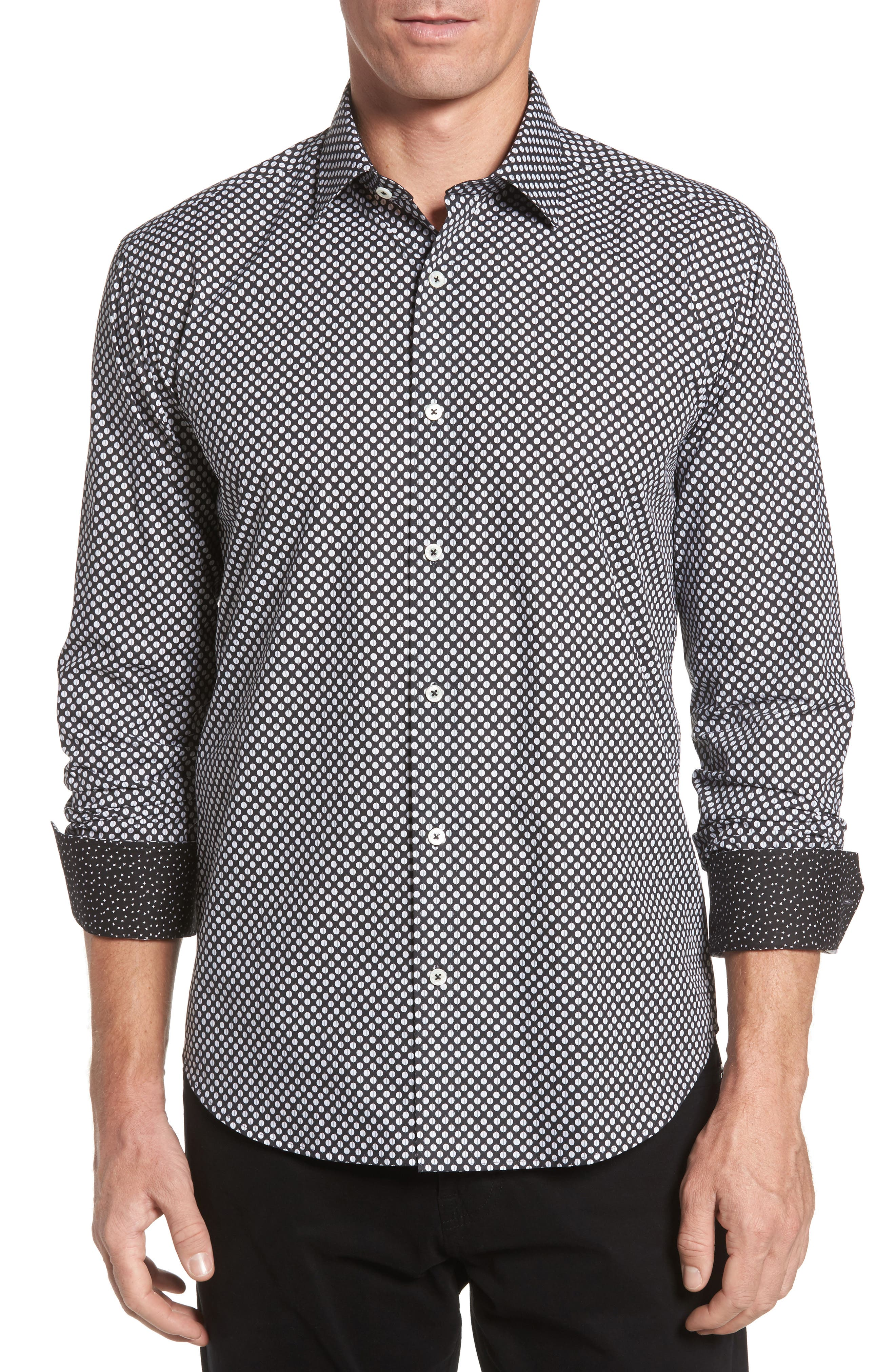Shaped Fit Dot Print Sport Shirt,                             Main thumbnail 1, color,                             Black