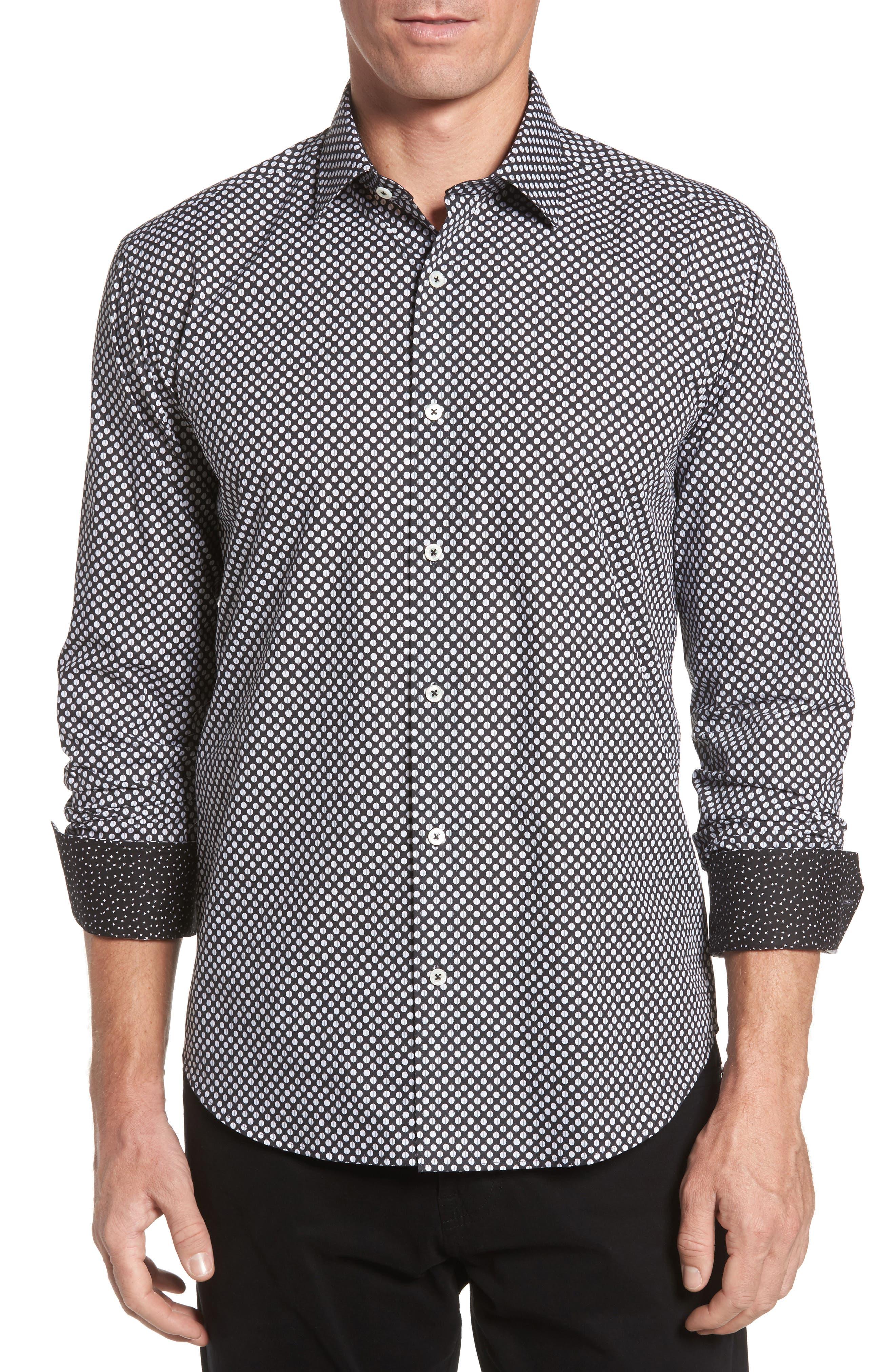 Main Image - Bugatchi Shaped Fit Dot Print Sport Shirt
