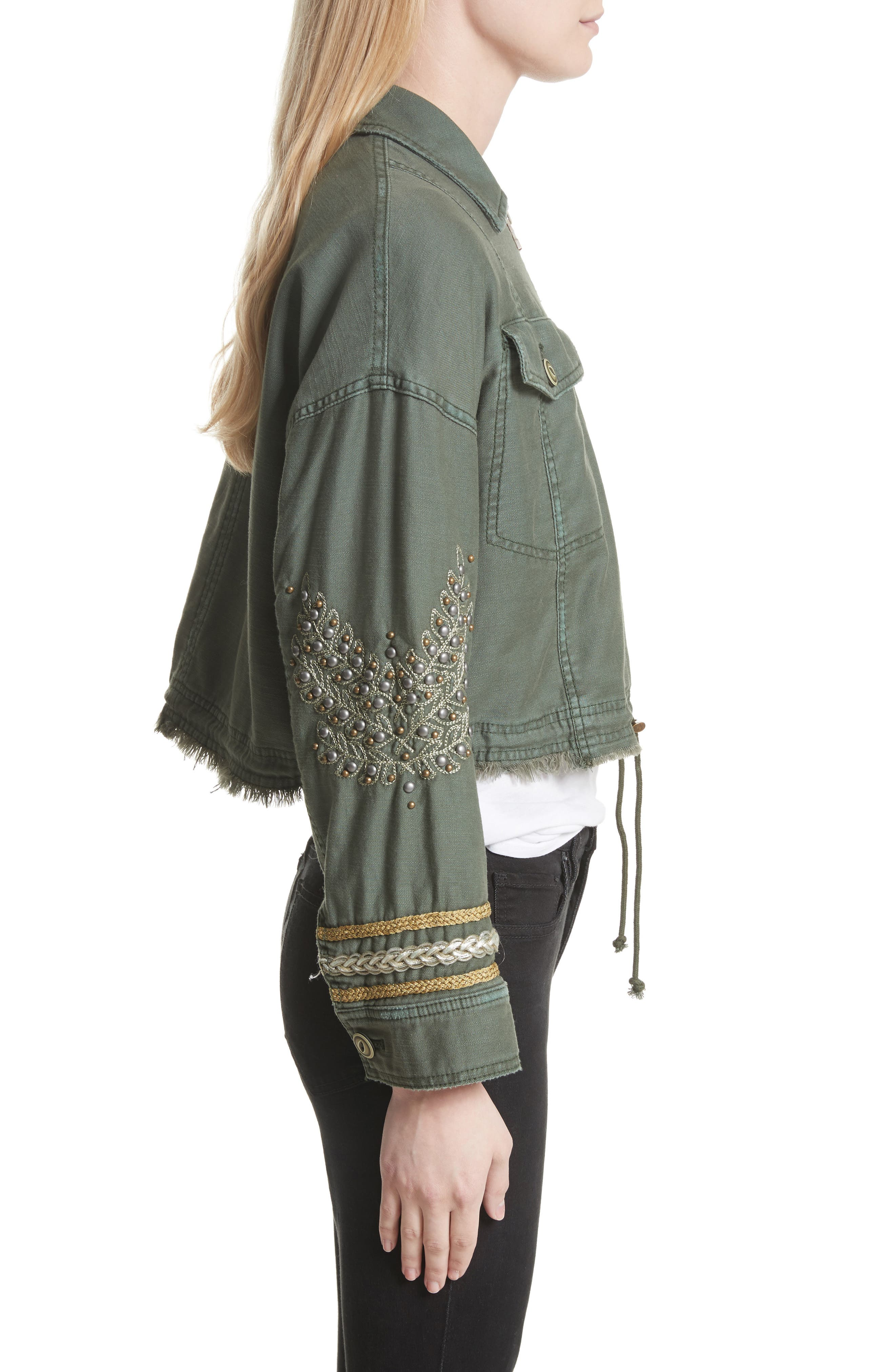 Crop Military Jacket,                             Alternate thumbnail 4, color,                             Moss