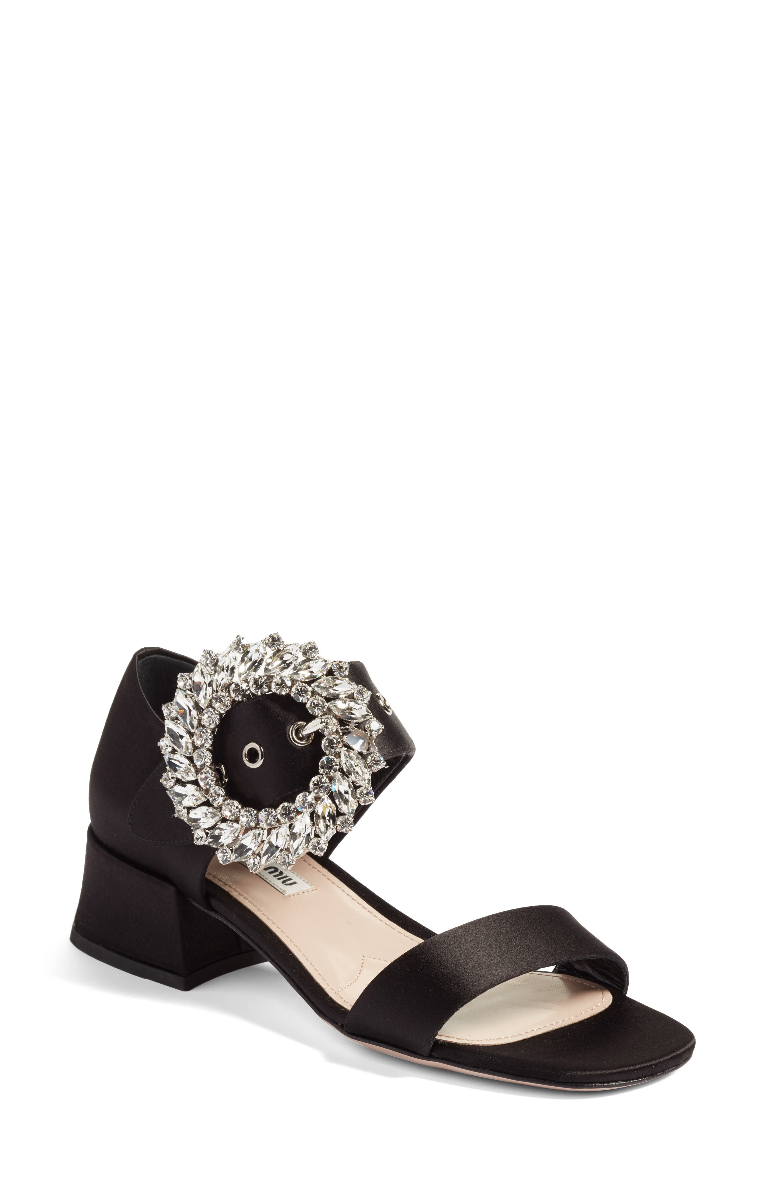 Main Image - Miu Miu Crystal Buckle Mary Jane Sandal (Women)