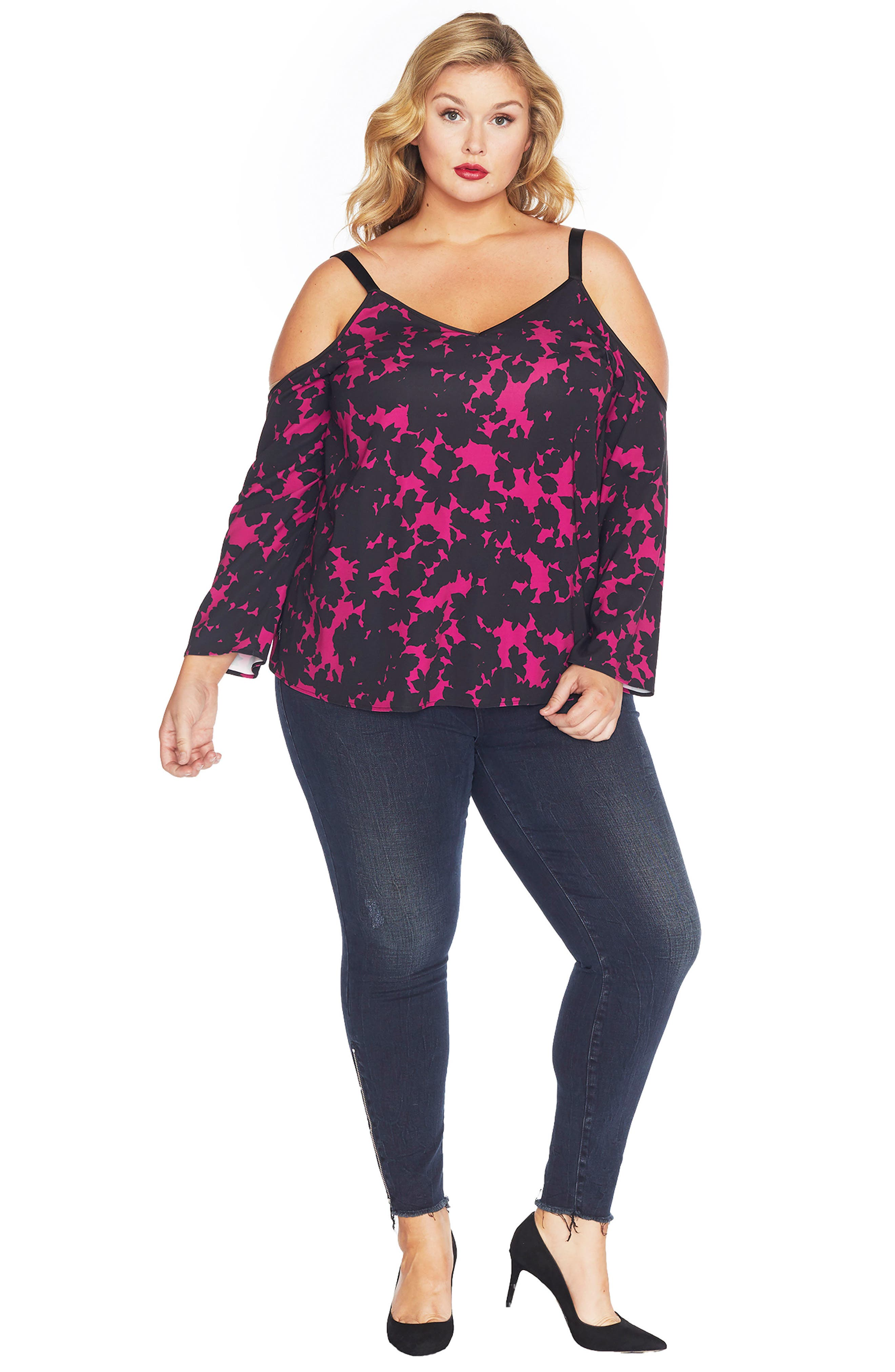 Alternate Image 2  - REBEL WILSON X ANGELS Cold Shoulder Top (Plus Size)