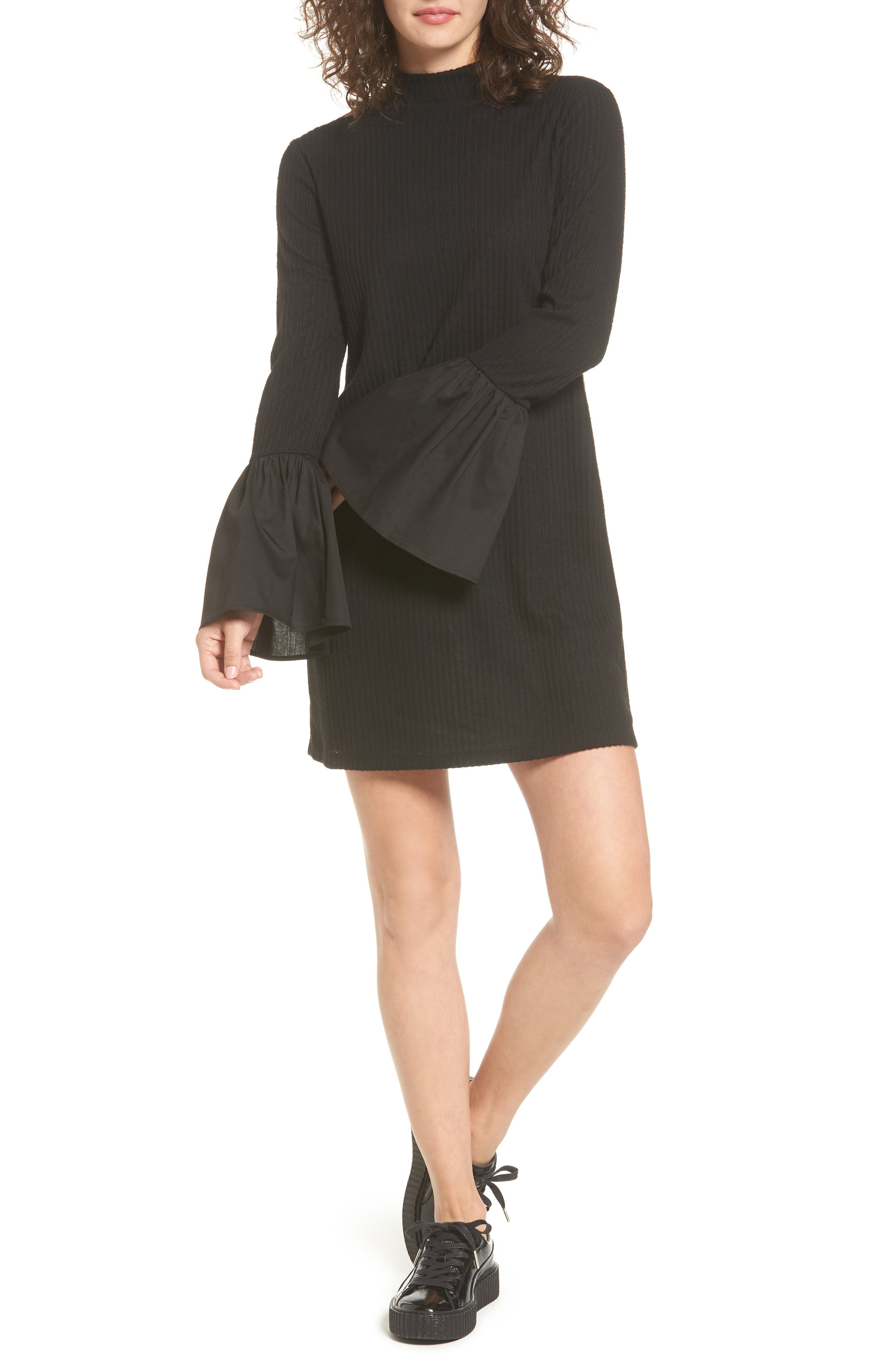 Everly Bell Sleeve Rib Knit Dress
