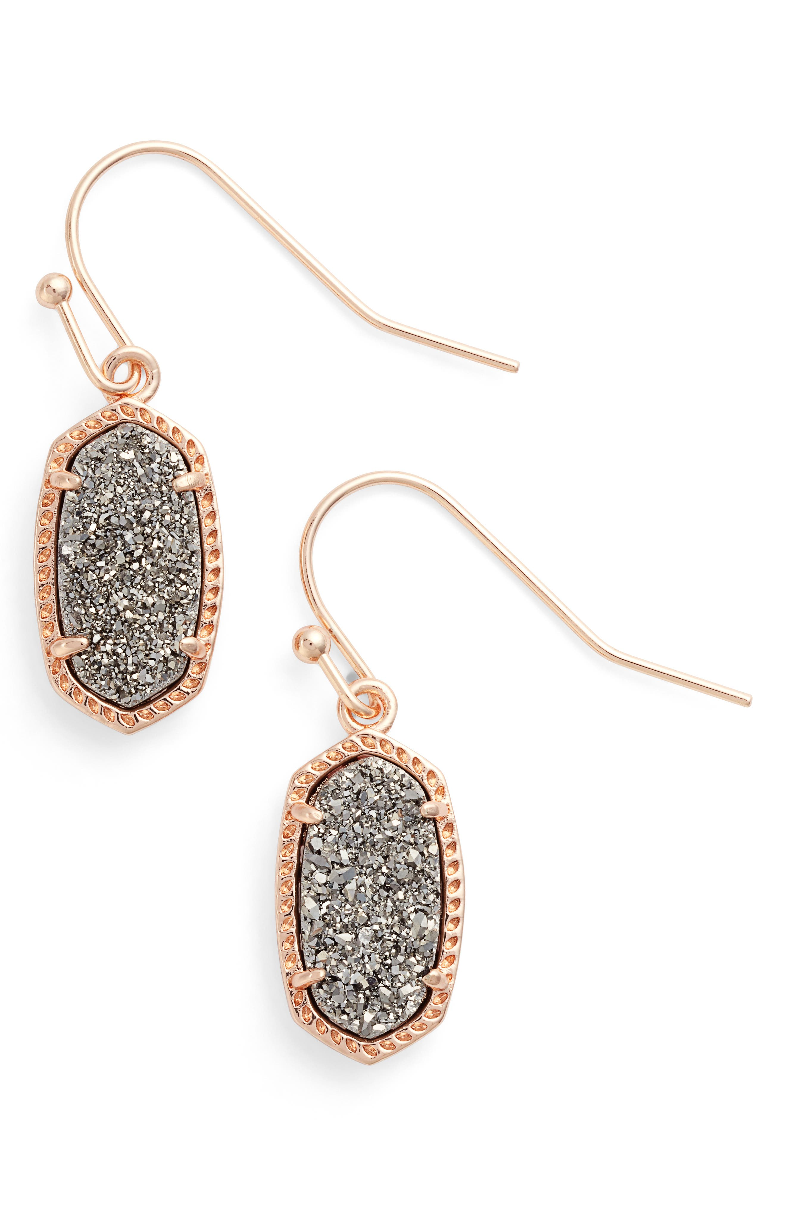 Lee Small Drop Earrings,                             Main thumbnail 1, color,                             Platinum Drusy/ Rose Gold