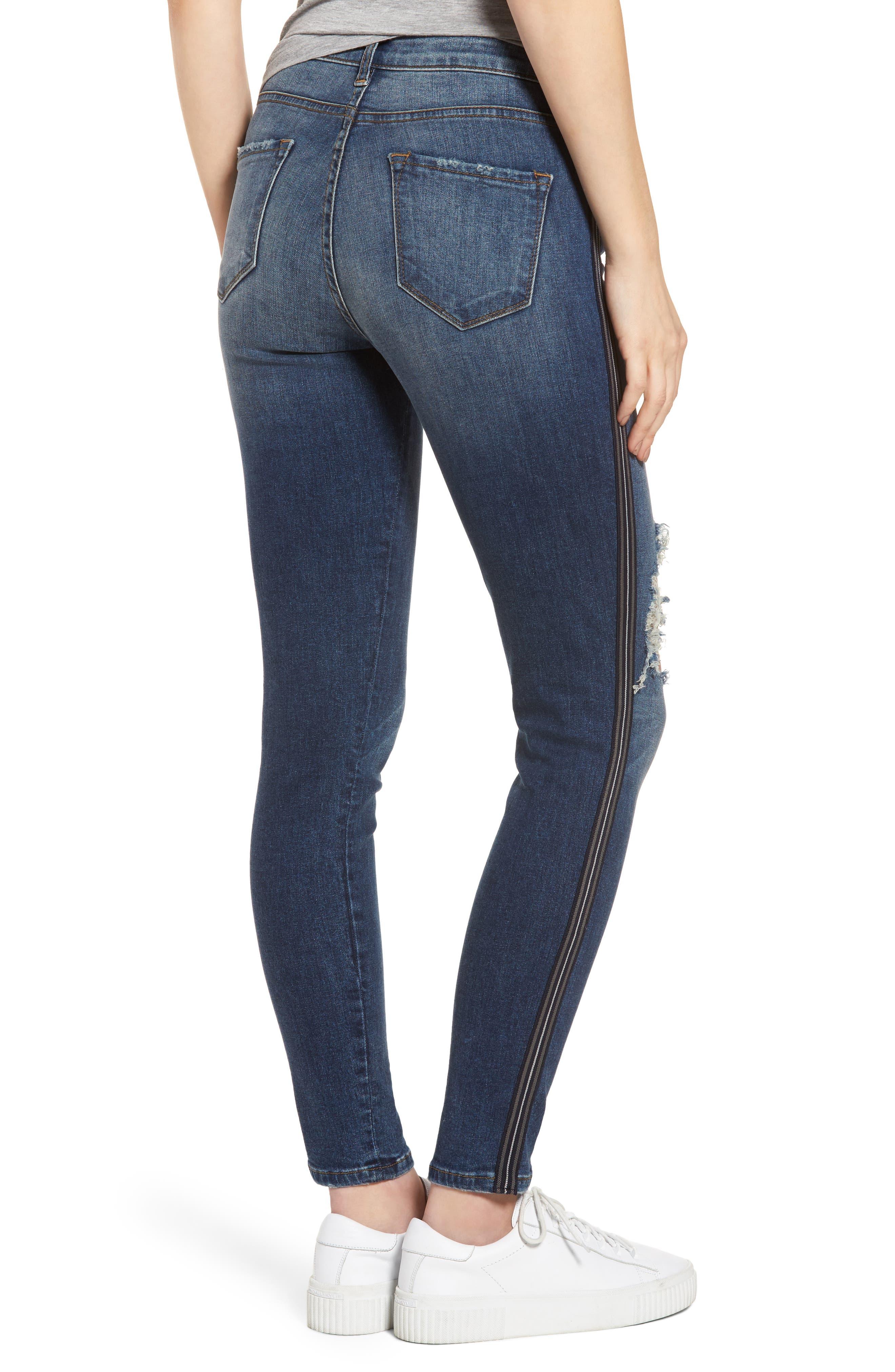 Tuxedo Stripe Ripped Skinny Jeans,                             Alternate thumbnail 2, color,                             Medium Wash