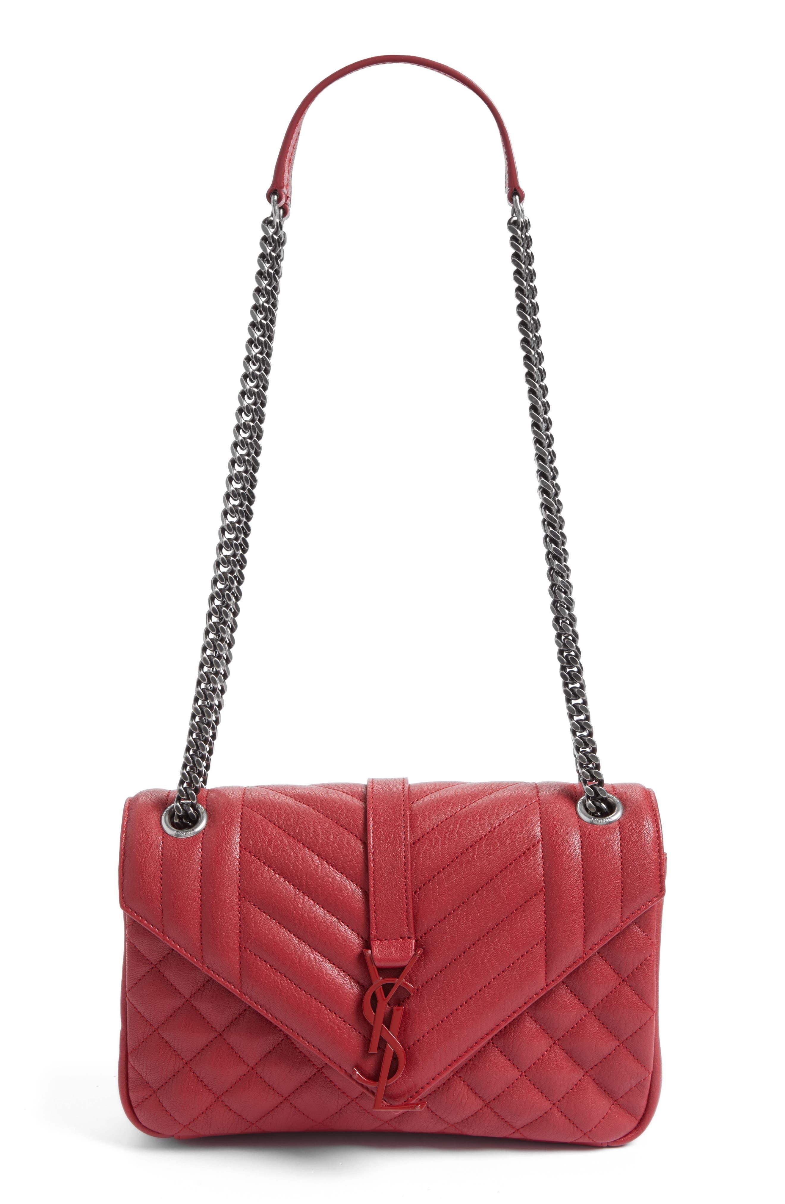 Large Monogramme Matelassé Leather Shoulder Bag,                             Main thumbnail 1, color,                             Rouge Lipstick