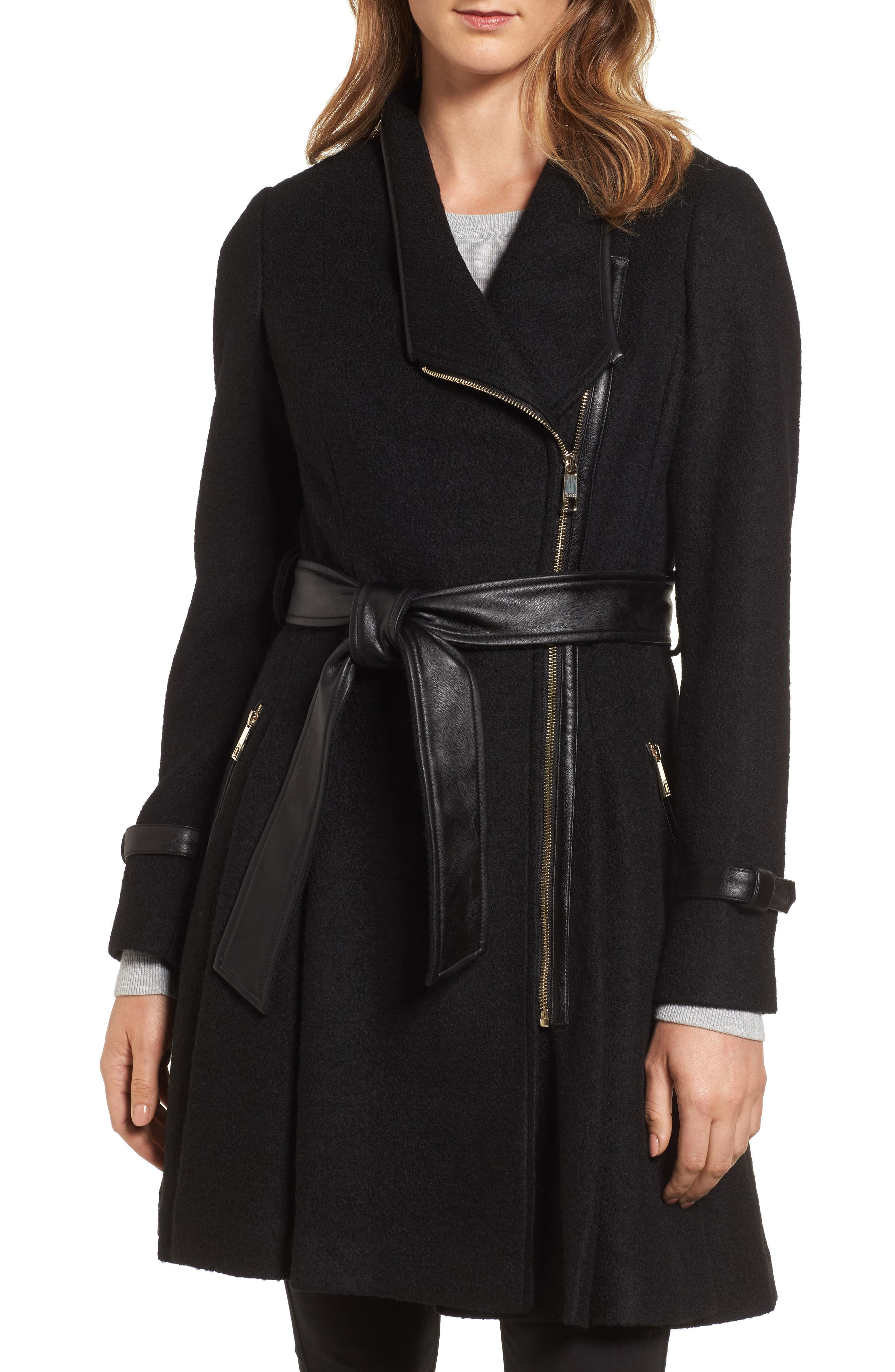 Belted Boiled Wool Blend Coat,                             Main thumbnail 1, color,                             Black