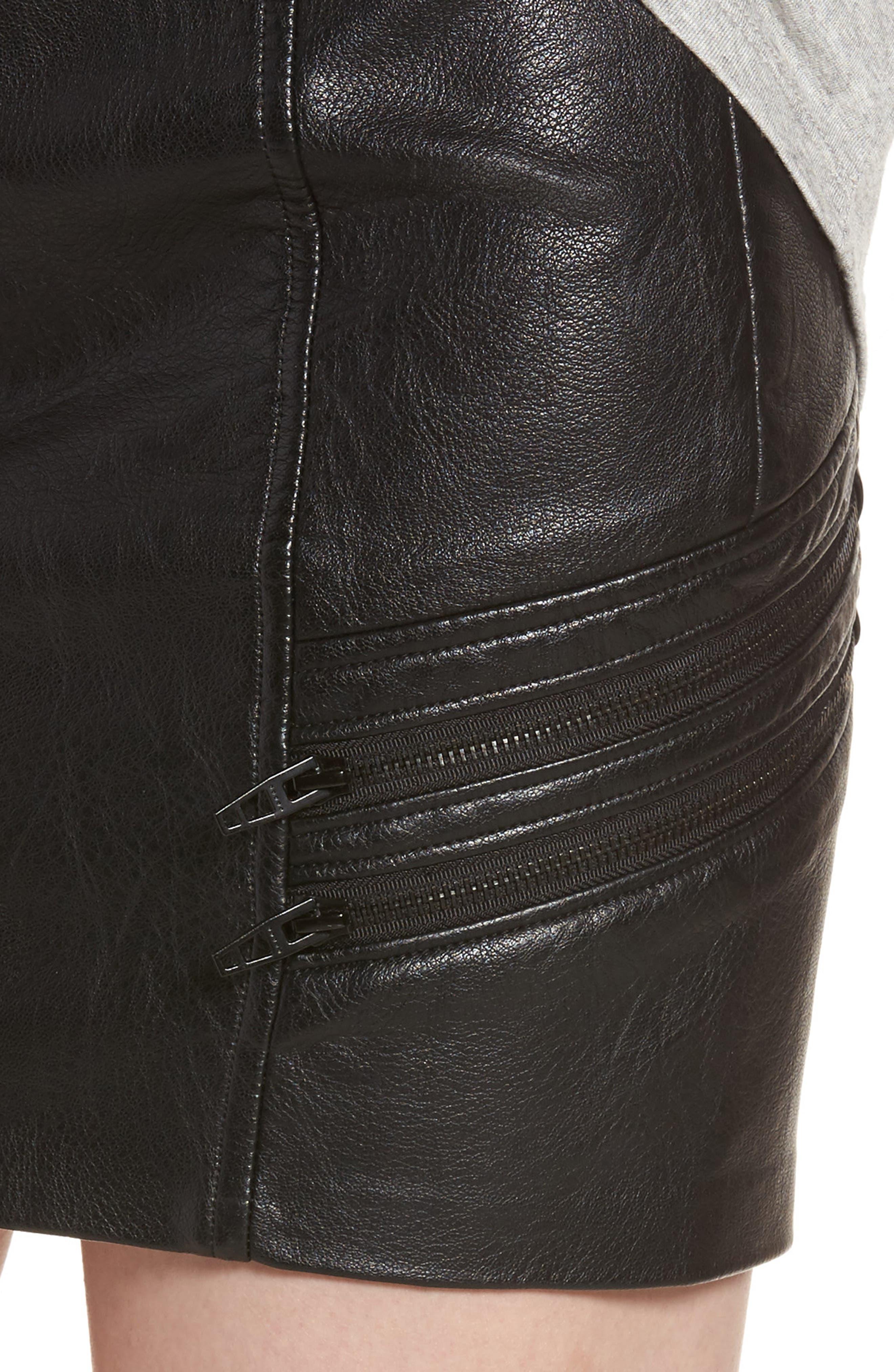 High Waist Zip Miniskirt,                             Alternate thumbnail 5, color,                             True Black