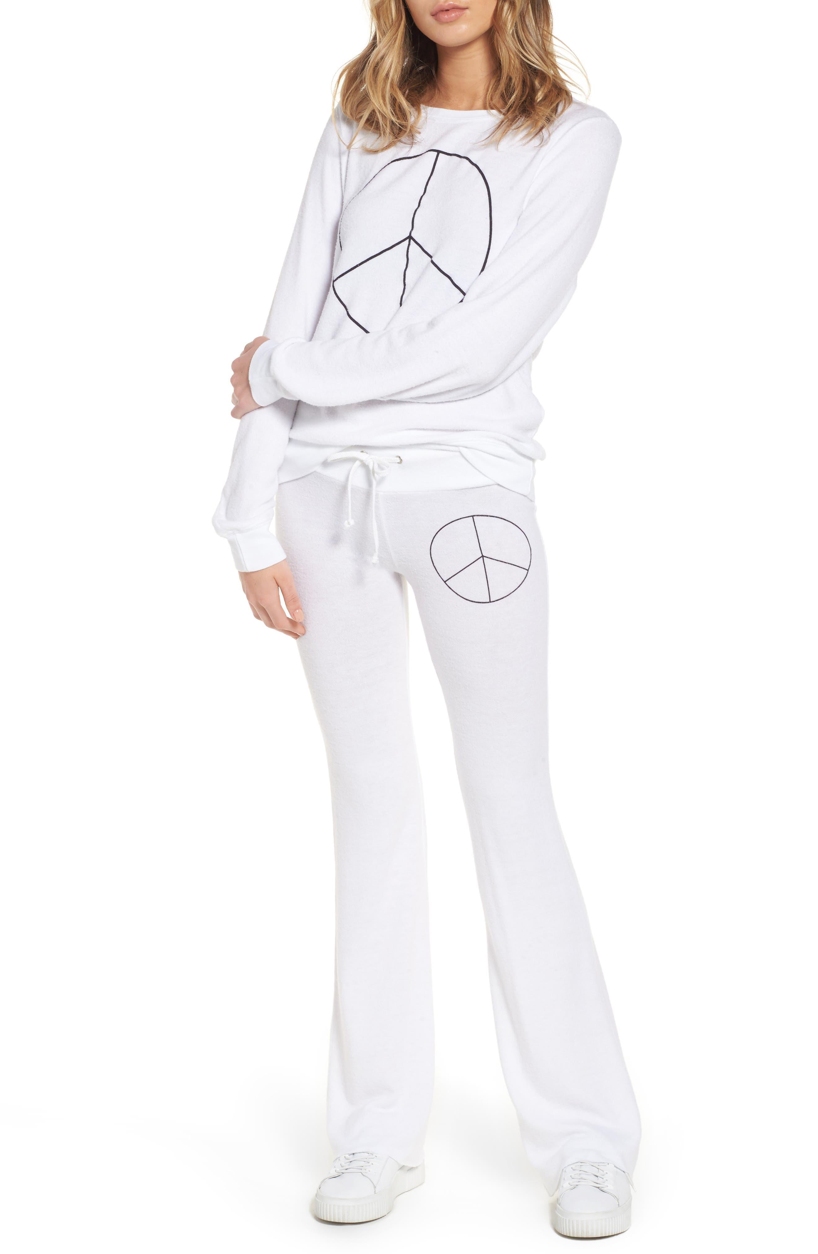 Peace Track Pants,                             Alternate thumbnail 2, color,                             White