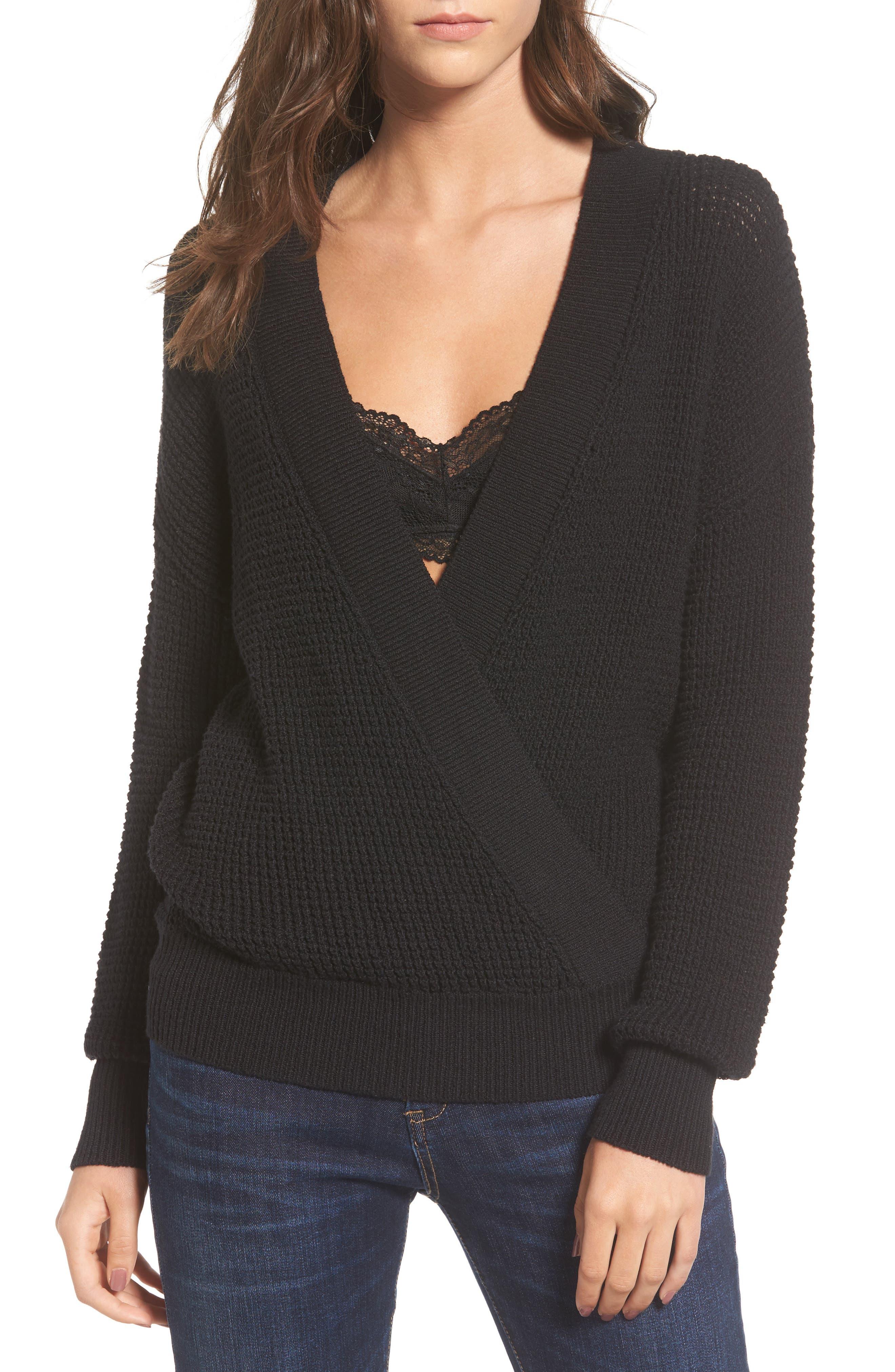 Stephanie Surplice Sweater,                         Main,                         color, Black