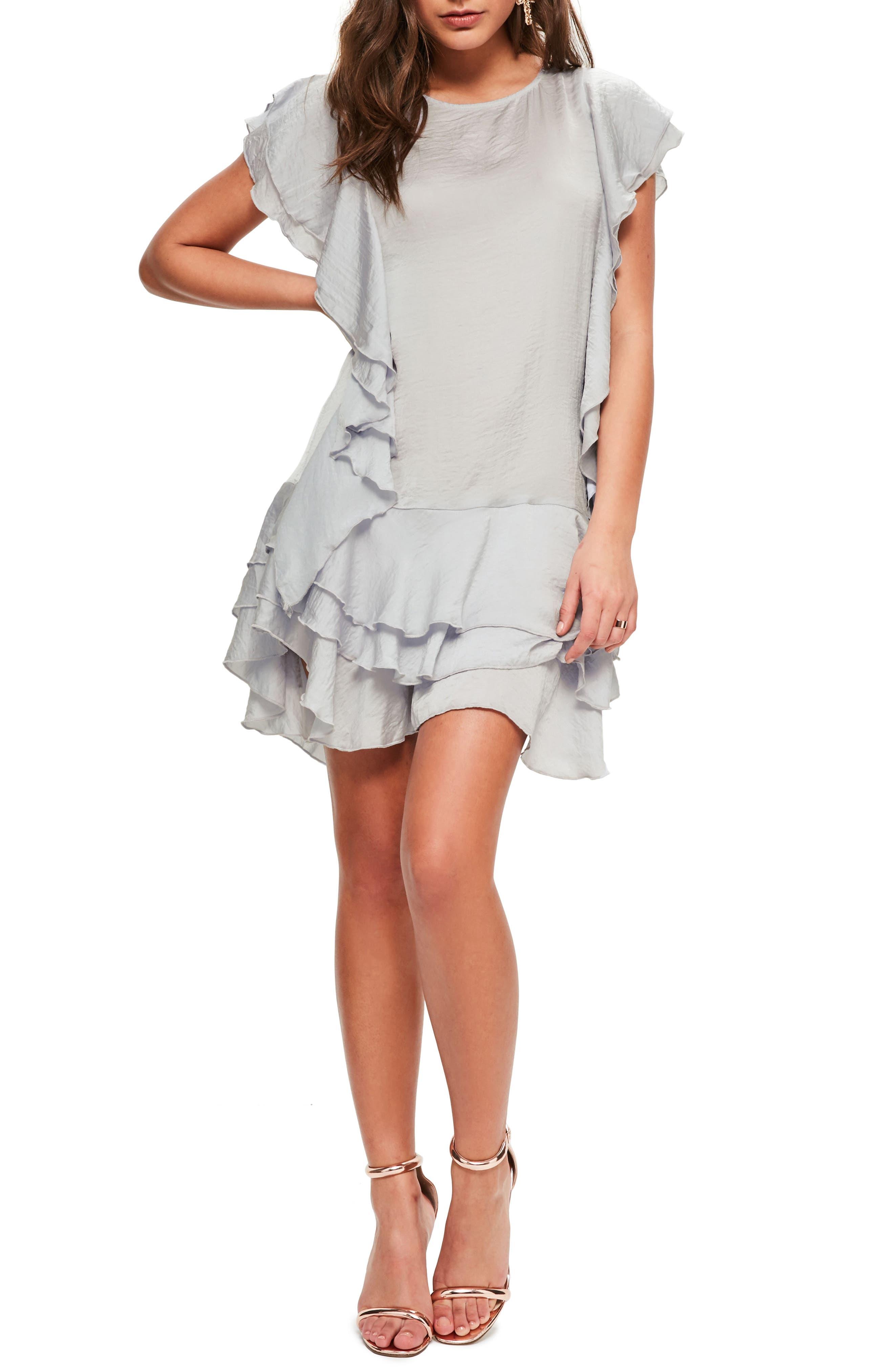 Layered Ruffle Minidress,                         Main,                         color, Grey