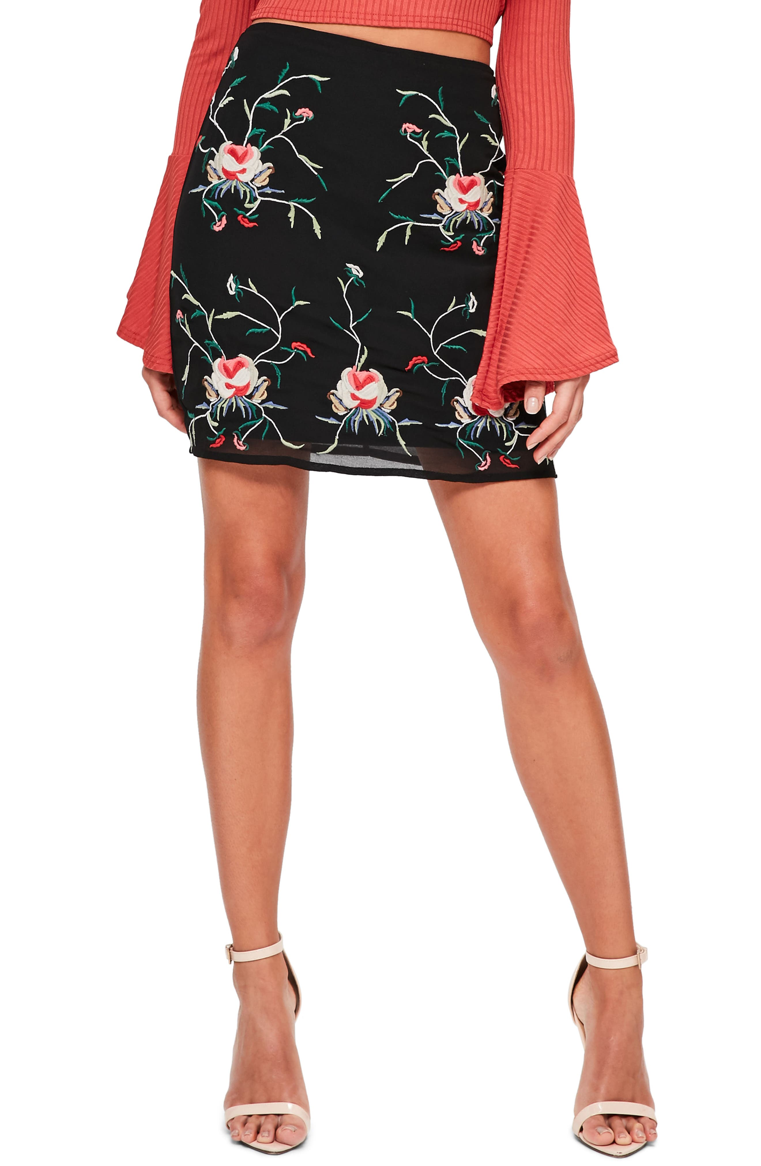 Floral Embroidered Pencil Skirt,                         Main,                         color, Black