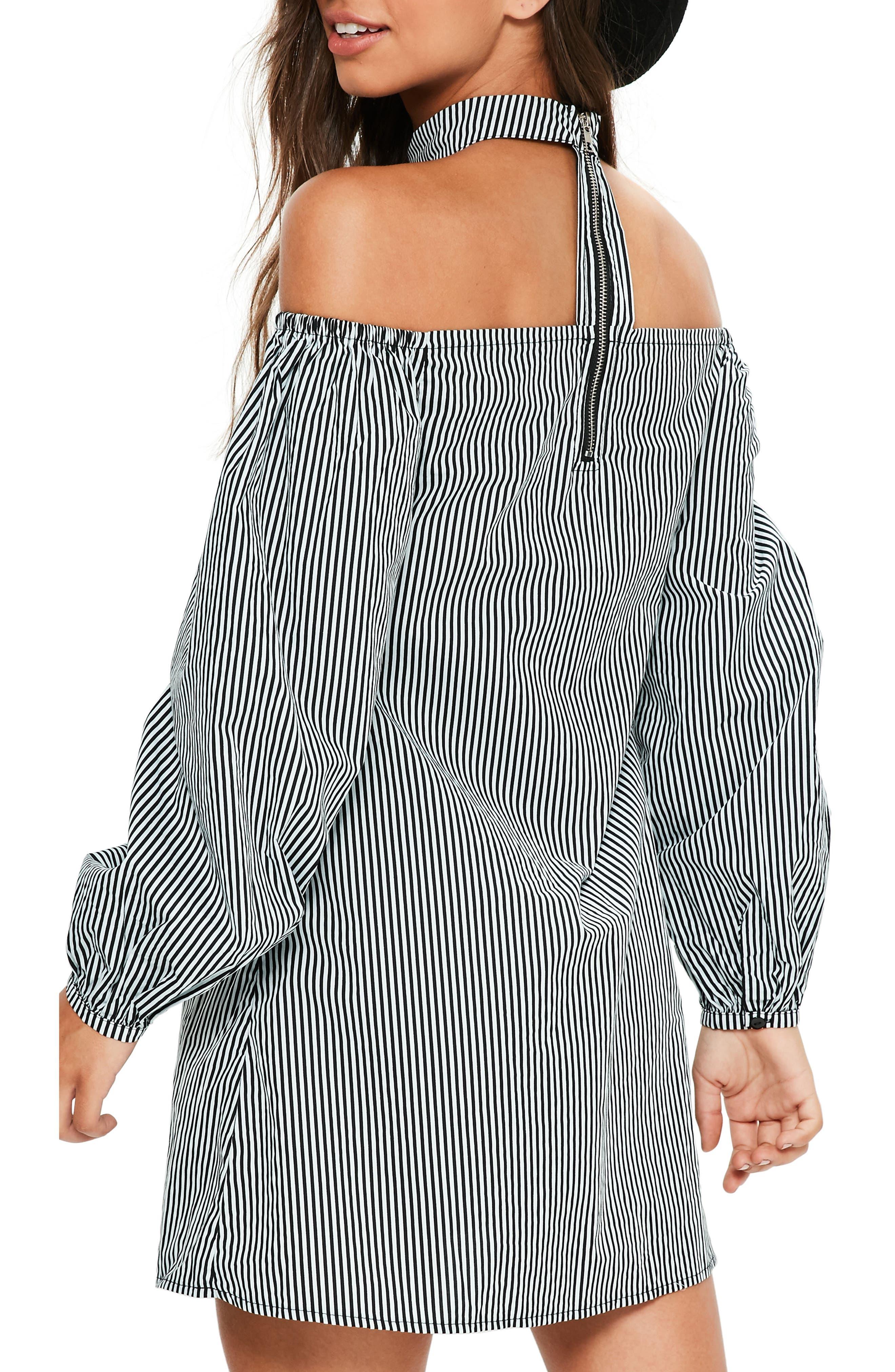 Choker Collar Trapeze Dress,                             Alternate thumbnail 2, color,                             Black