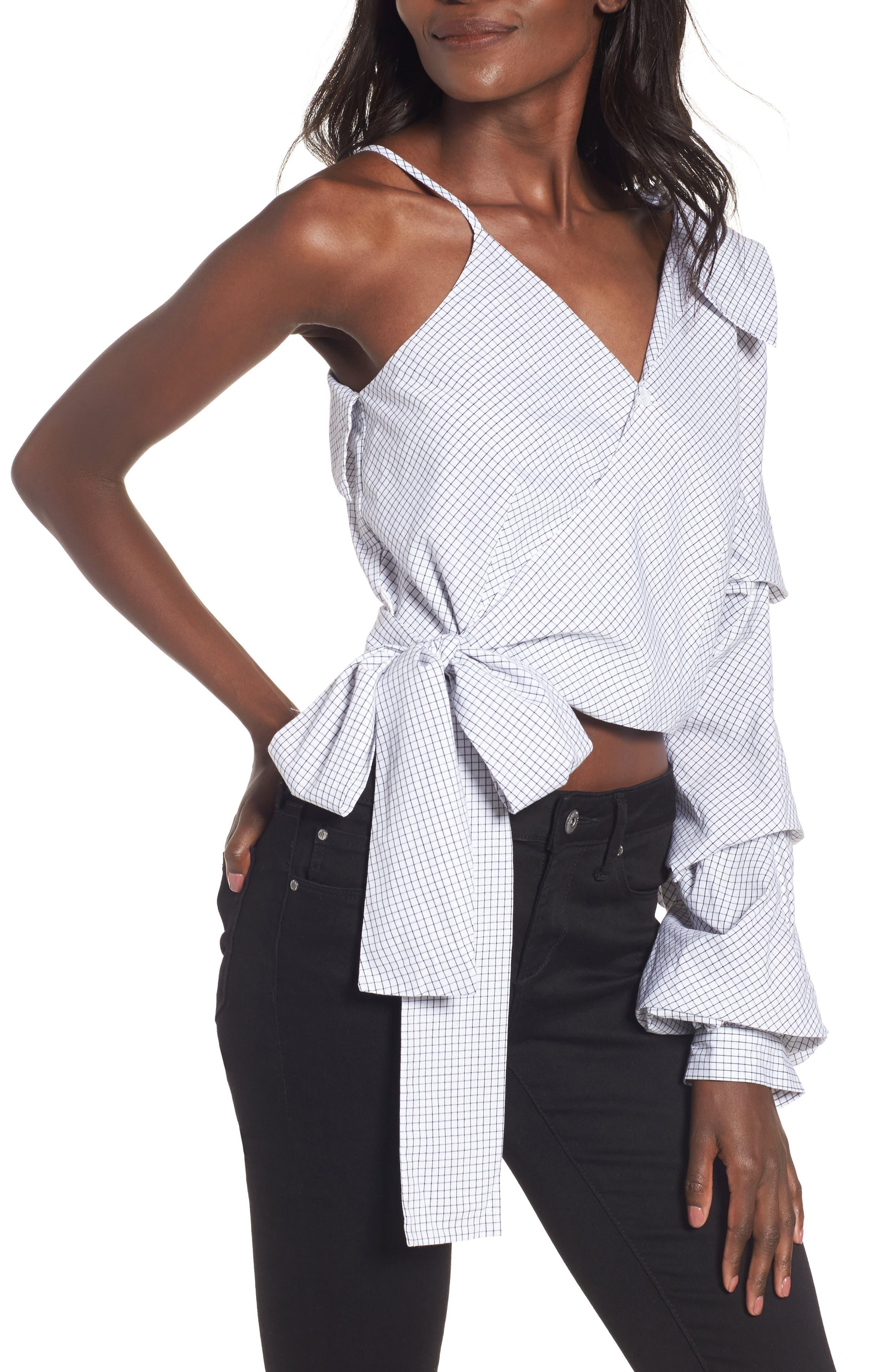 J.O.A. One-Shoulder Wrap Top