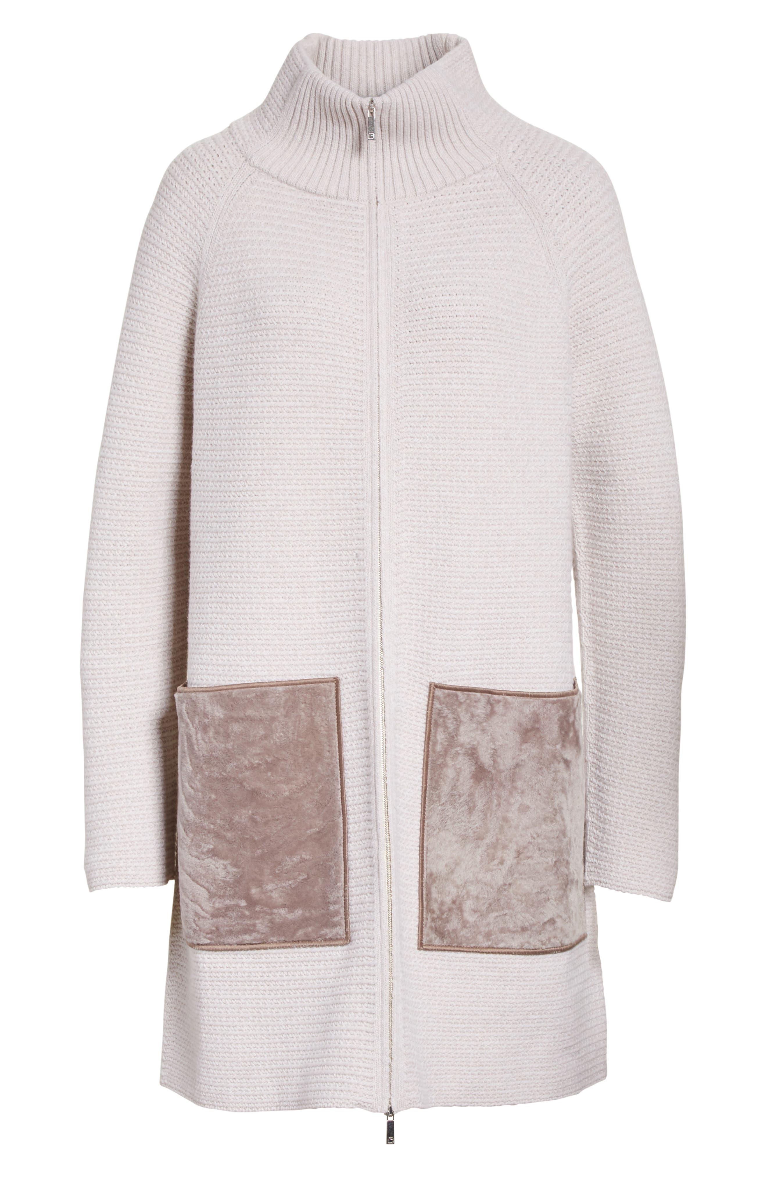 Alternate Image 7  - Lafayette 148 New York Wool & Cashmere Herringbone Stitch Cardigan with Genuine Shearling Pockets