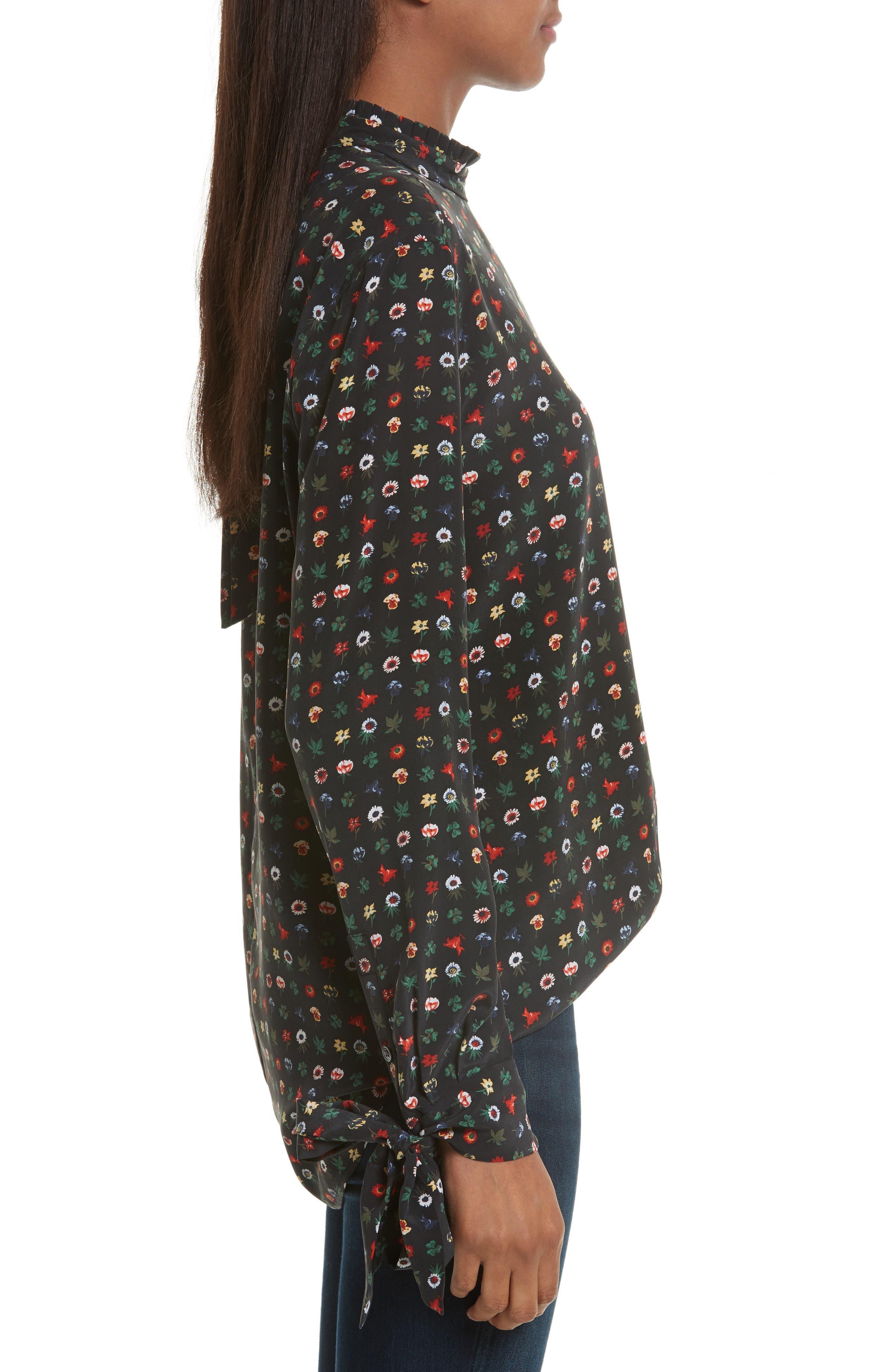 Alternate Image 3  - Equipment Aurora Tie Sleeve Floral Silk Blouse