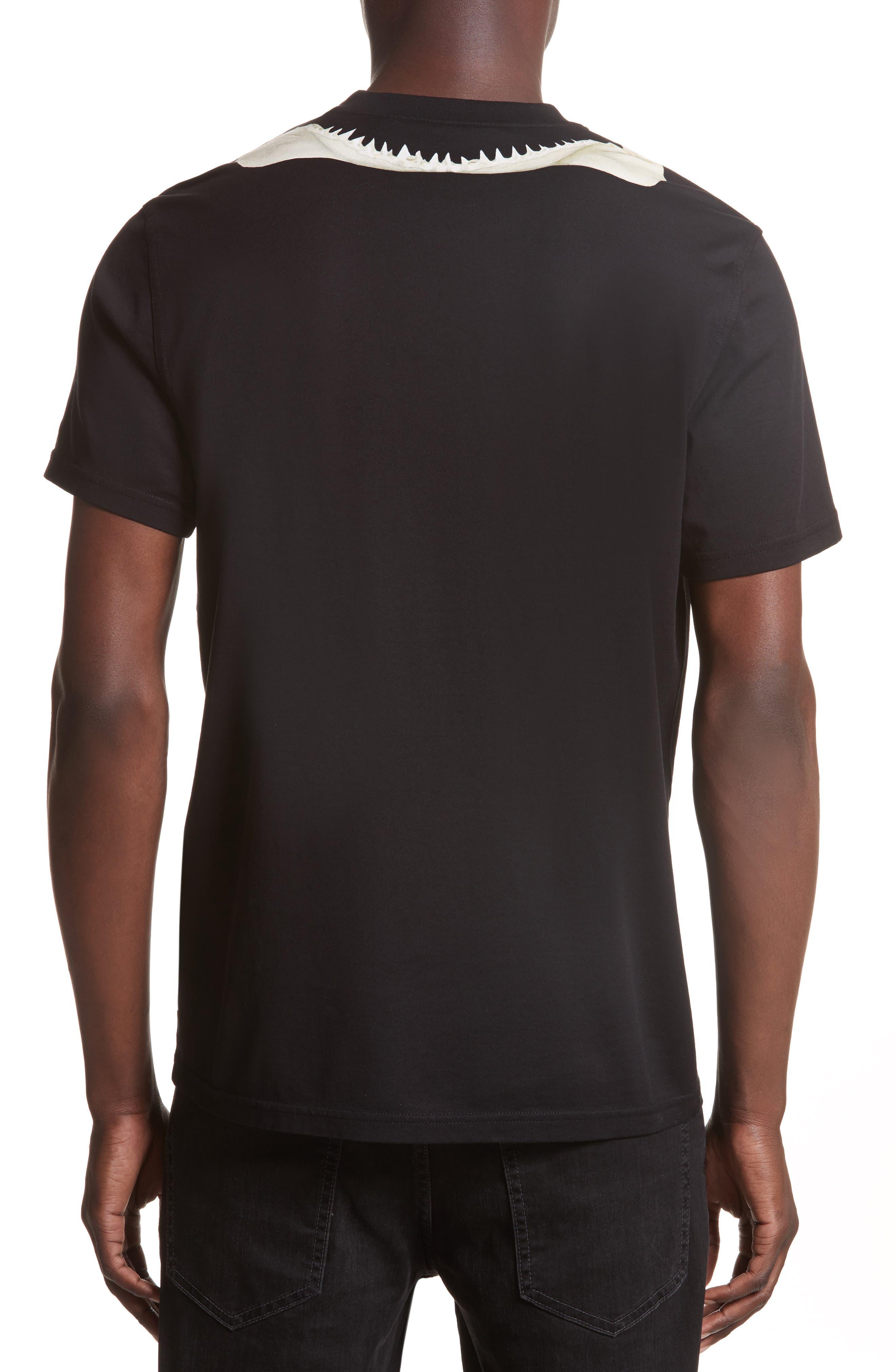 Cuban Fit Shark Print T-Shirt,                             Alternate thumbnail 2, color,                             Black