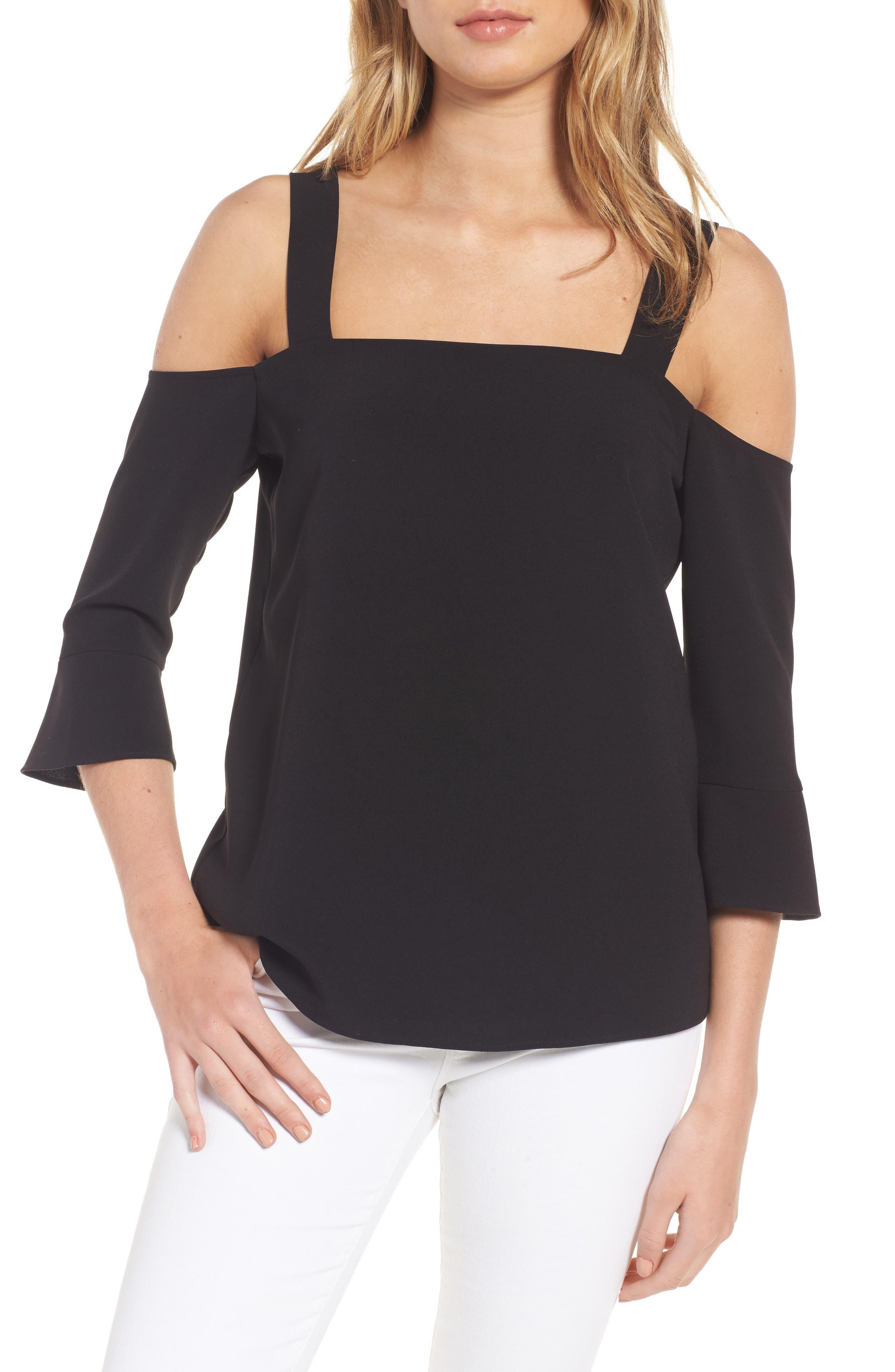 Tilde Cold Shoulder Top,                         Main,                         color, Black